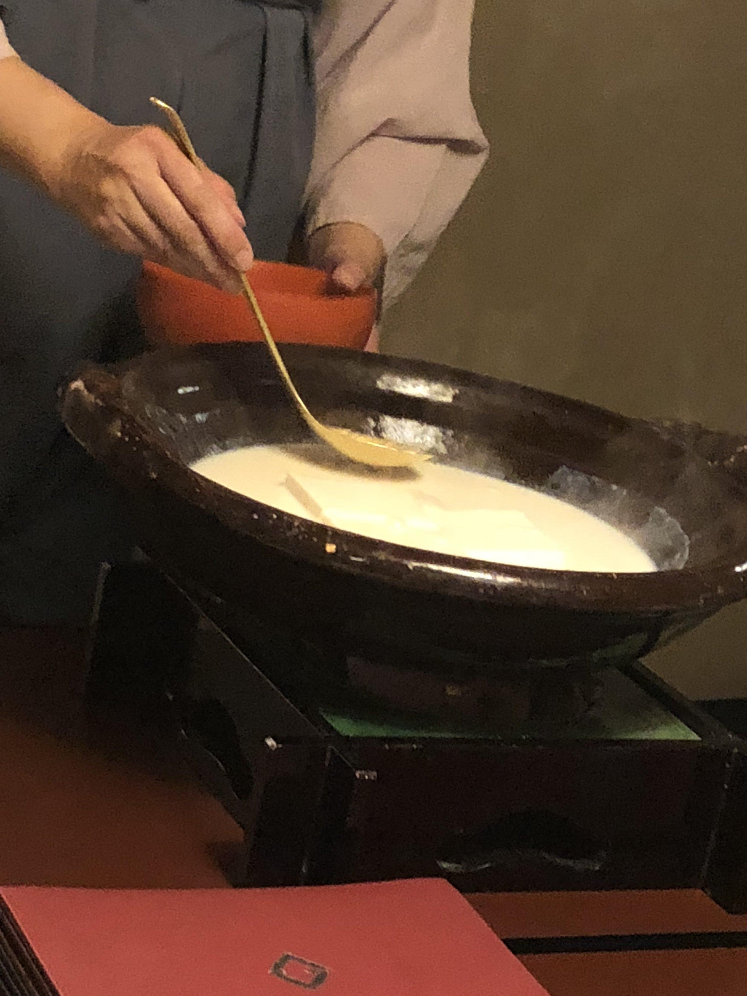 tofu serving from soymilk