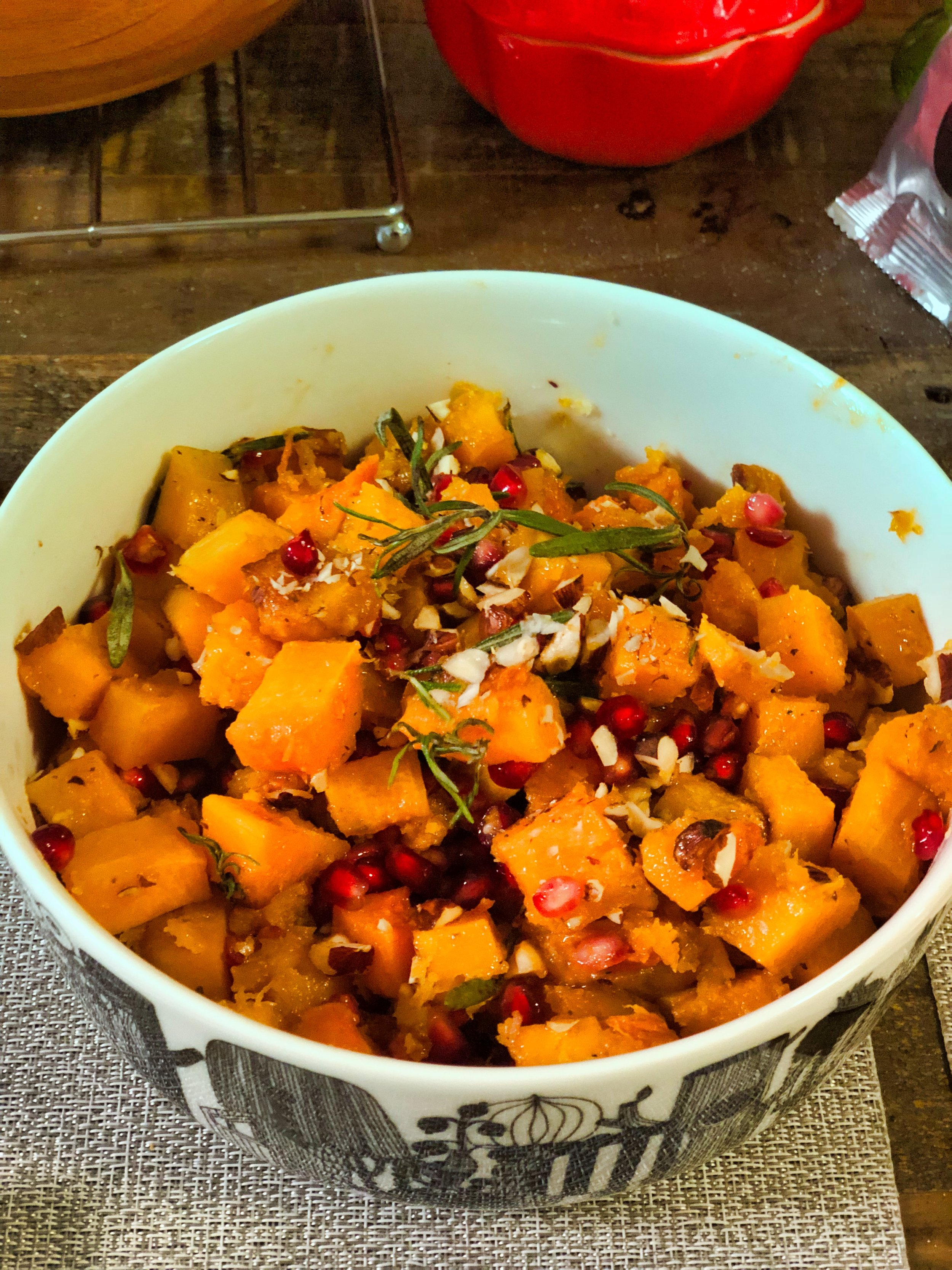 roasted squash pomegranate with rosemary
