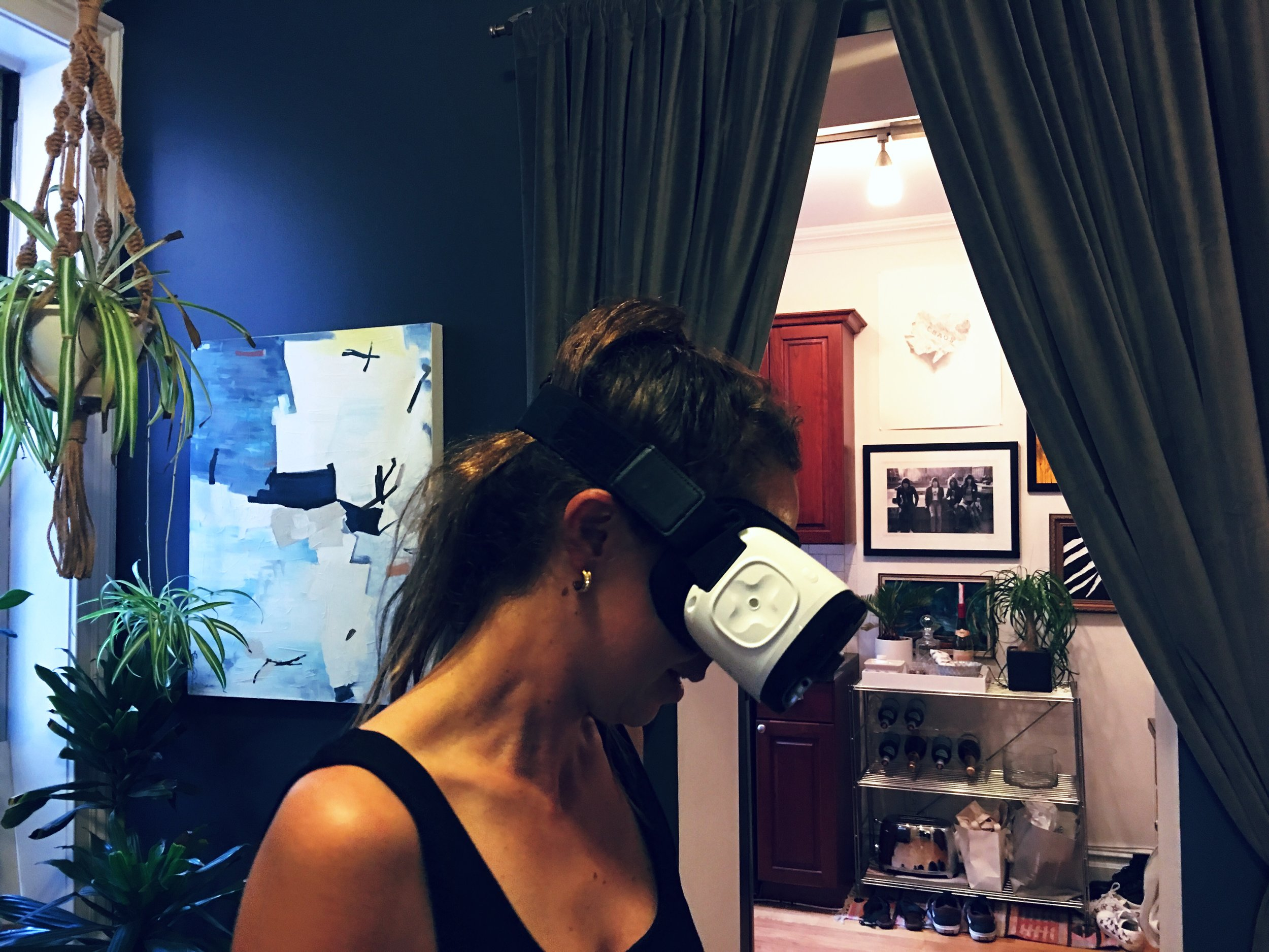 Angie Davis, Producer at Temme, demoing Mothers of the Atlas on Samsung Gear in New York.