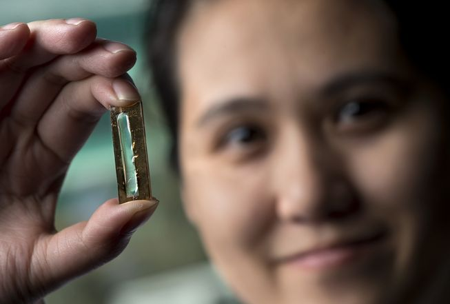 Mya Le Thai with her remarkable battery that can be charged for up to 400 years. Photo: UCI
