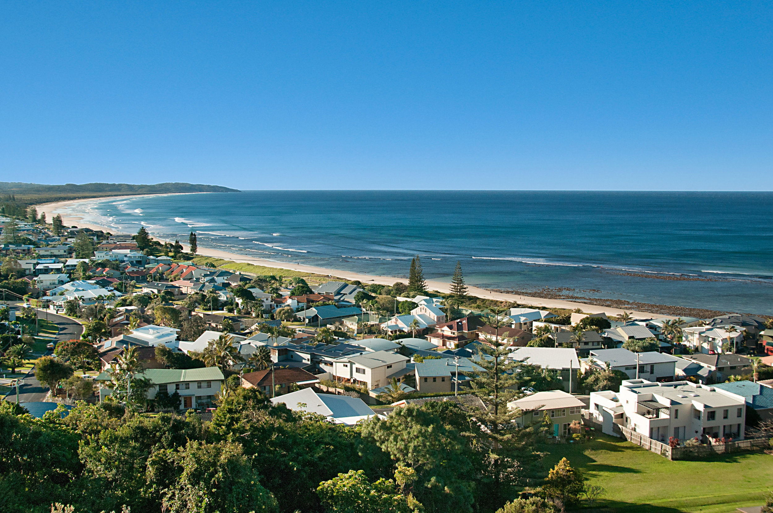 Lennox Head viewed from Wave Hill House.