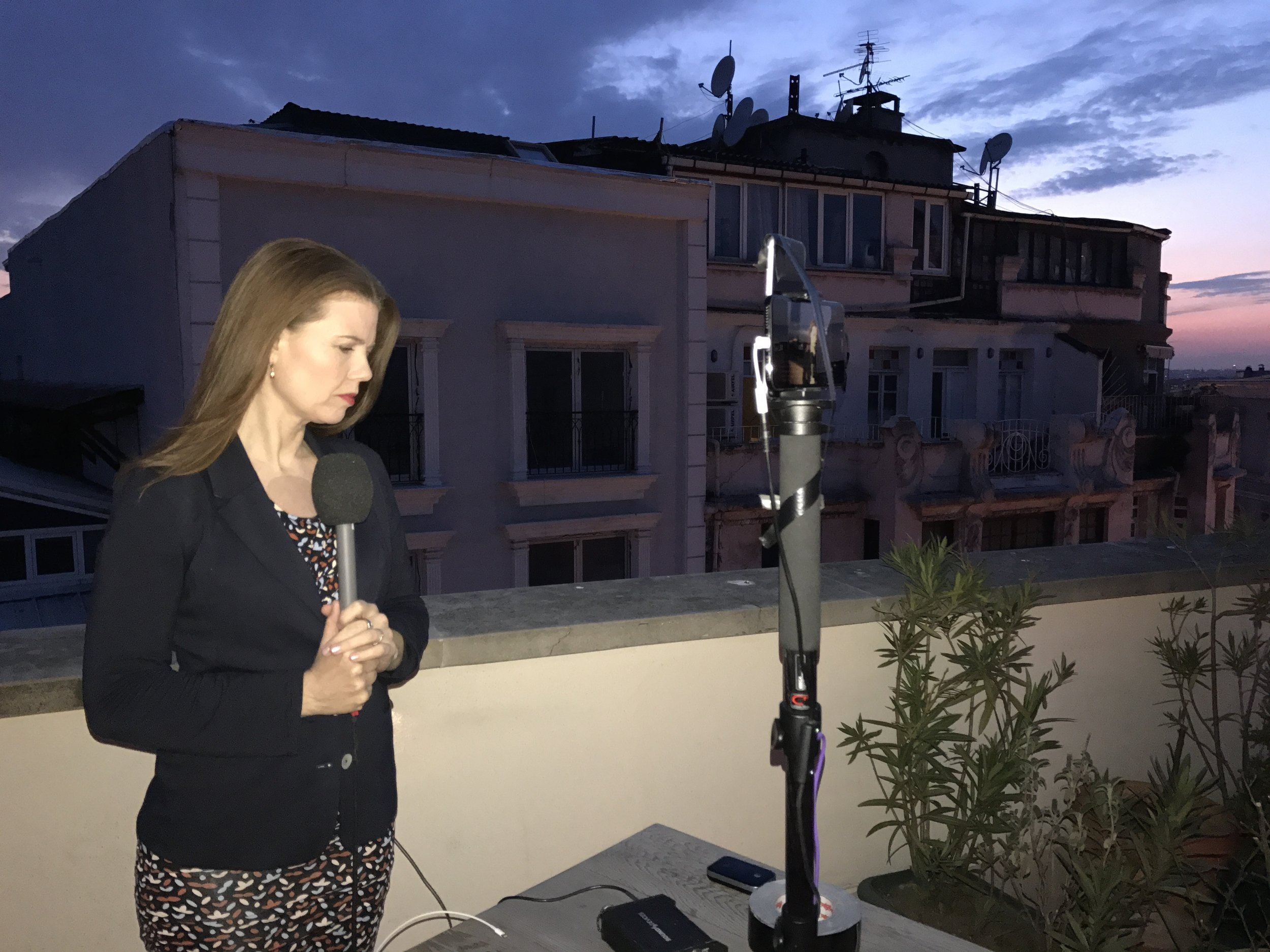 Preparing to go live for BBC News in Istanbul, Turkey reporting on the 2017 referendum.