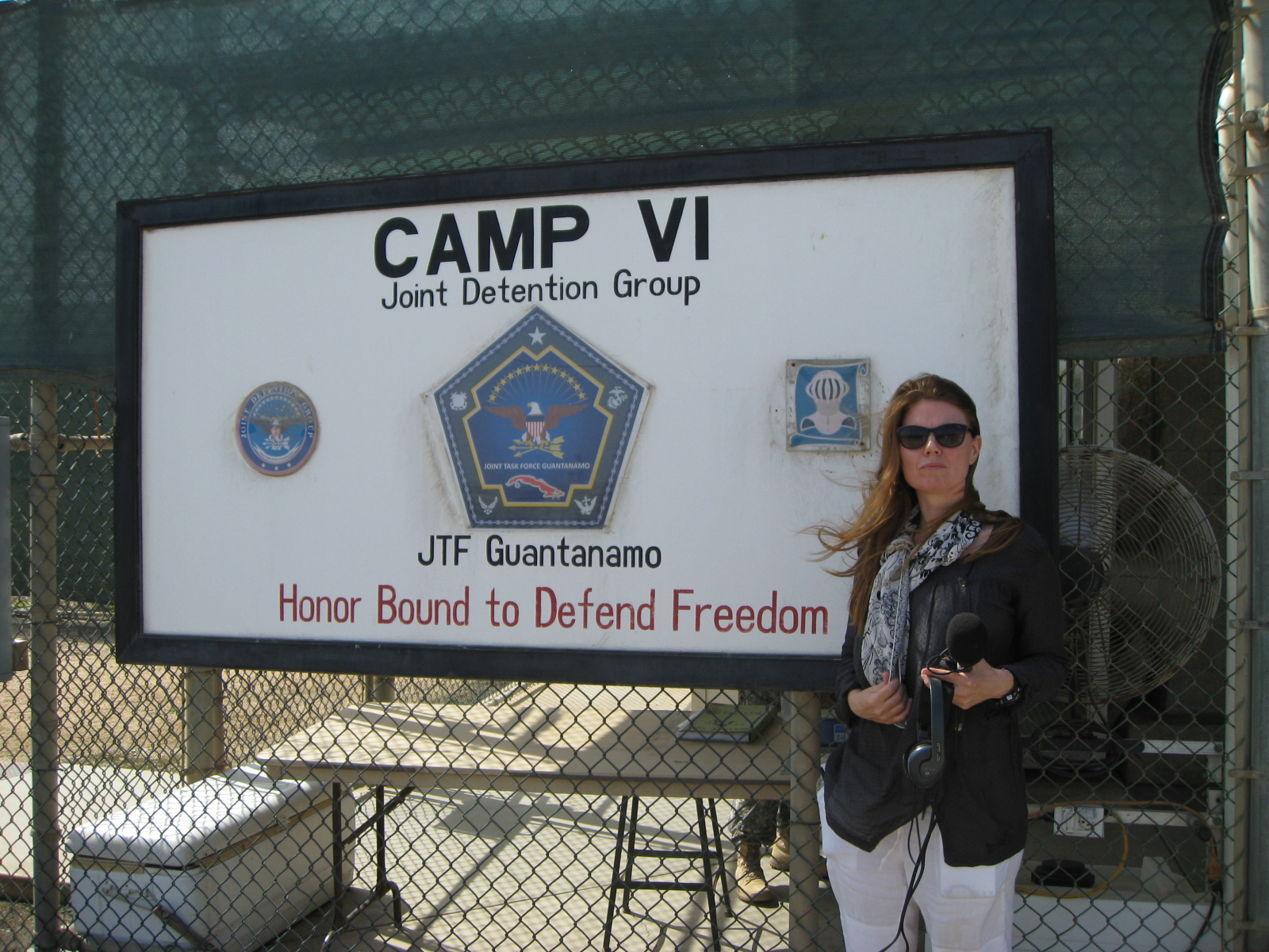 Before entering the controversial Camp VI, Guantanamo Bay to record for BBC broadcasts.