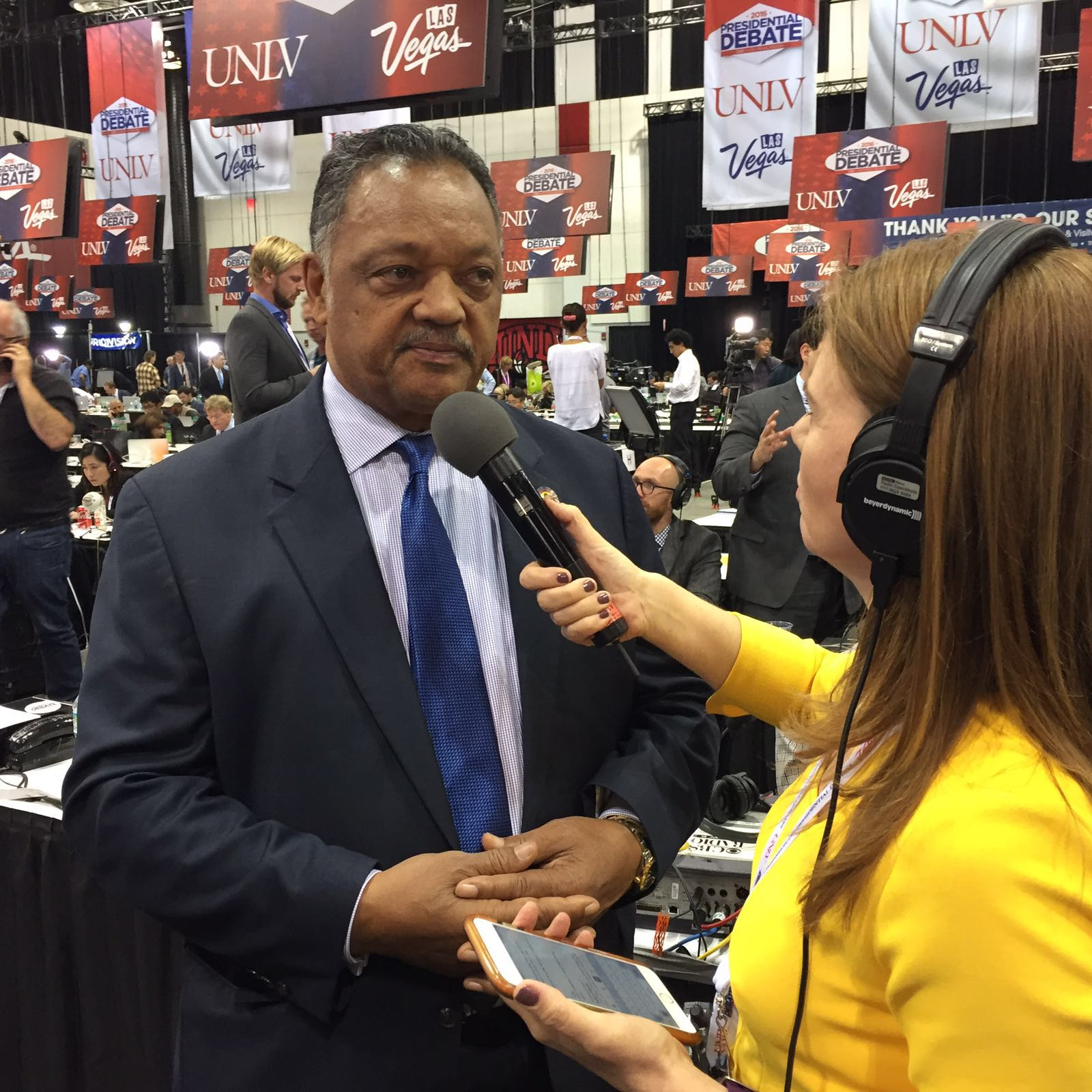 At the third and final US 2016 presidential debate between Clinton and Trump, interviewing civil rights activist Rev. Jesse Jackson in the spin room.