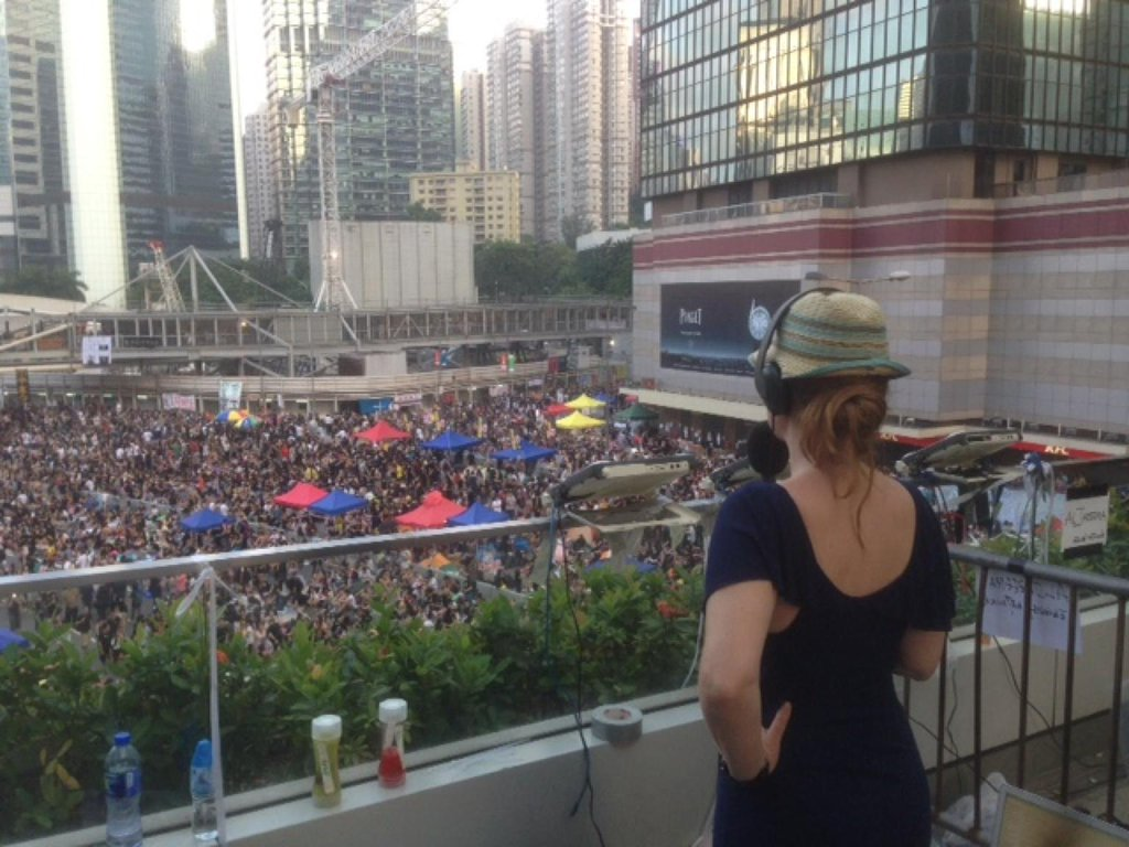 Broadcasting from the Hong Kong protests, called the Umbrella Movement