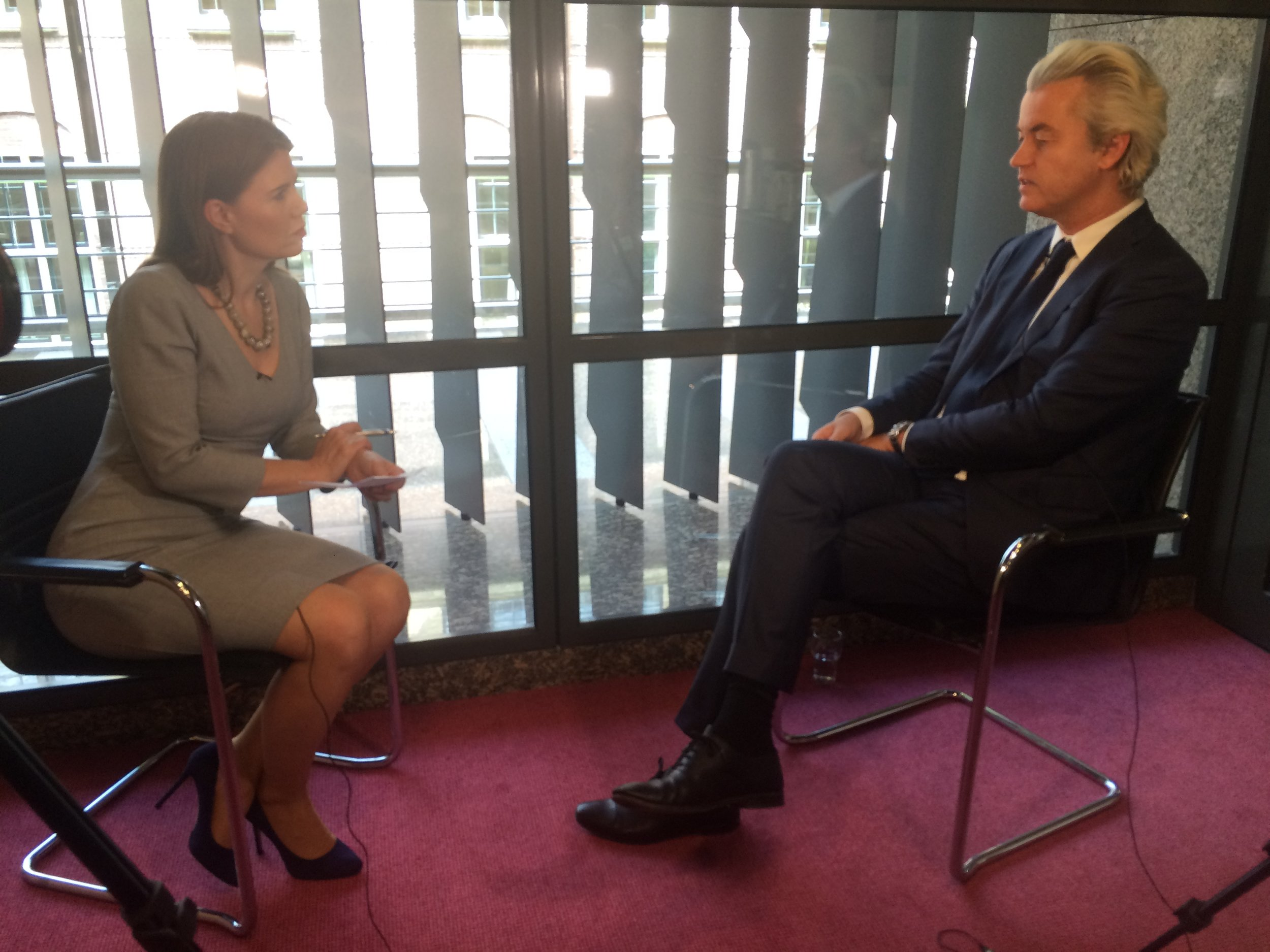 TV interview with controversial Dutch politician Geert Wilders in The Hague.