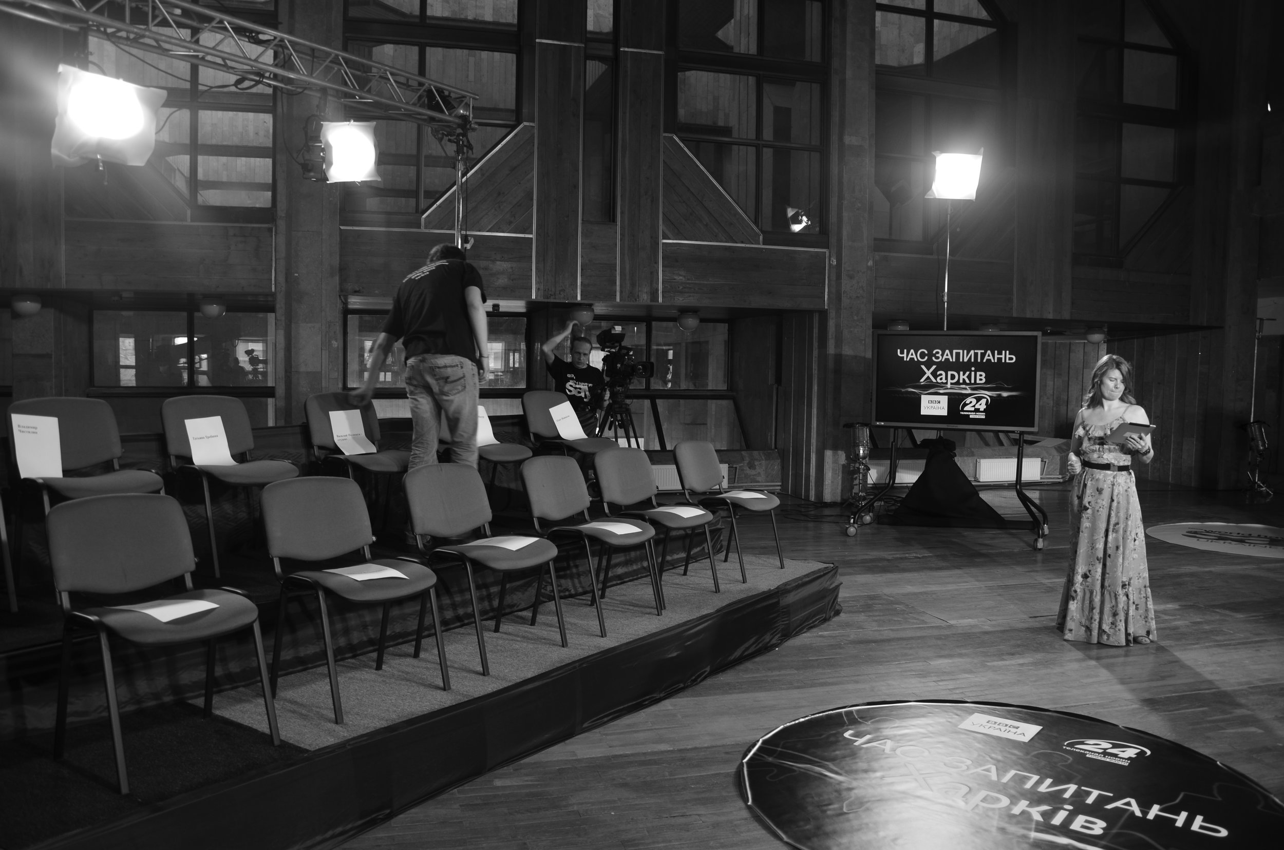 Preparing for a live audience TV show in Kharkiv, eastern Ukraine, after the annexation of Crimea for BBC World News