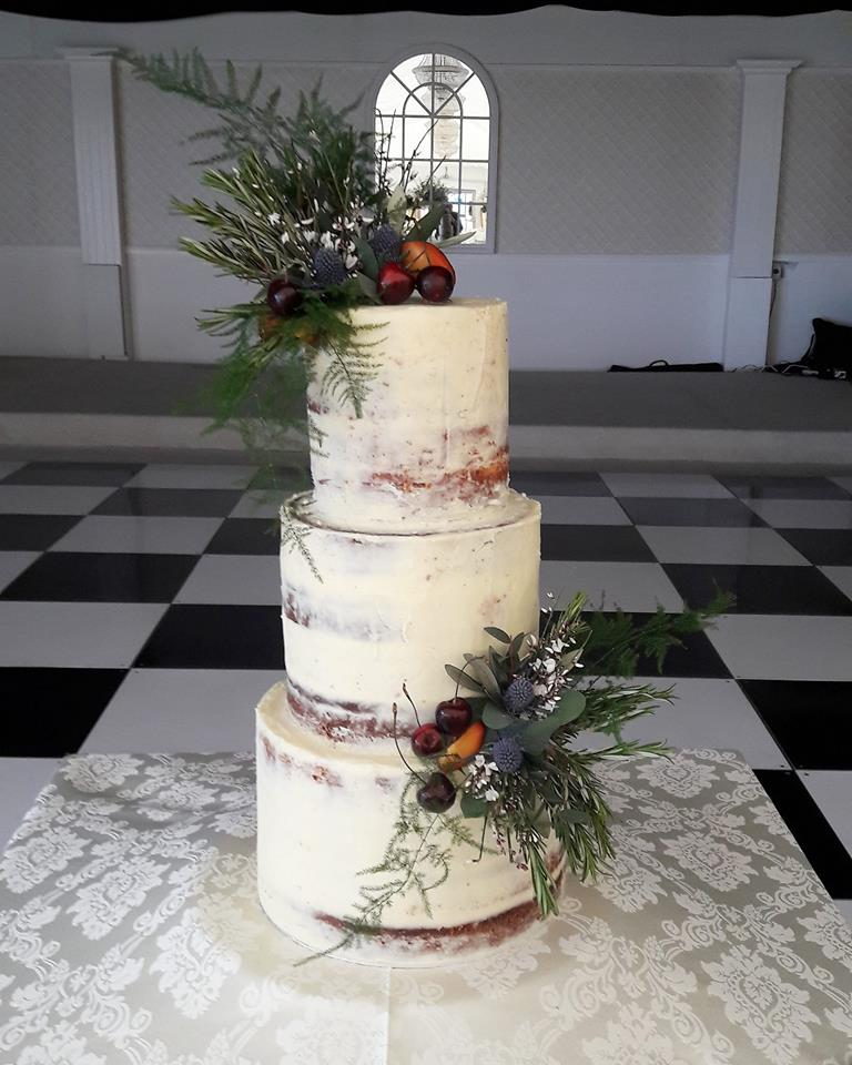 Mar Hall - Semi-Naked Wedding Cake with Scottish flowers, herbs and fruits