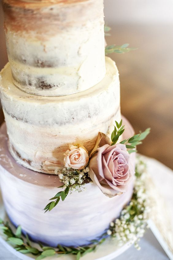 Rowallan Castle - Watercolour Base Semi-Naked Wedding Cake