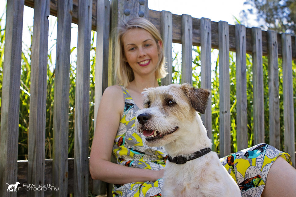 Girl sitting with her jack russell terrier dog for pet portraits | Sydney Pet Photography