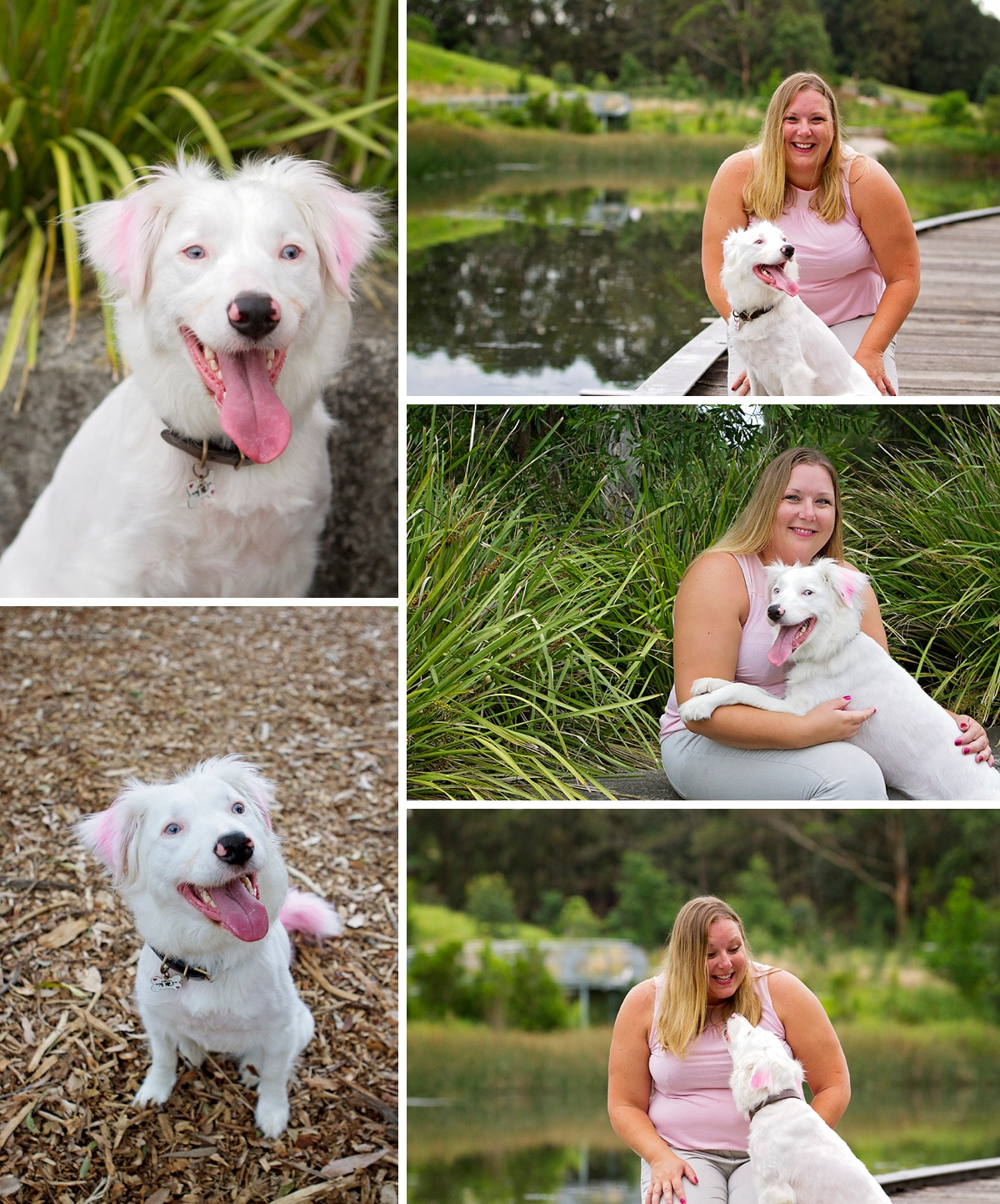 White dog Angel and her owner take part in the Dog Days of Summer with Sydney pet photographer, Pawtastic Photography in Sydney Park