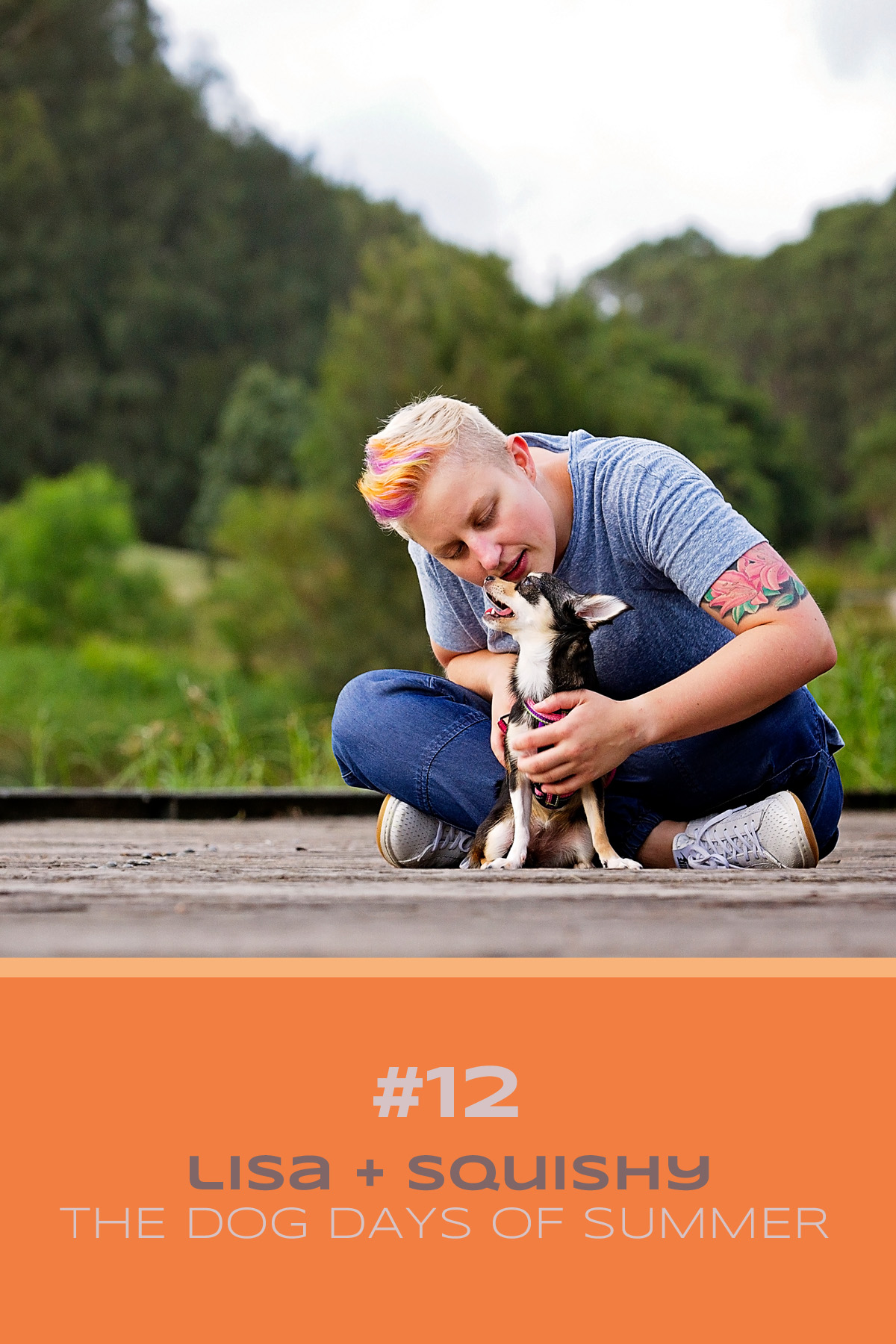 Chihuahua dog and her mum pose on the pier at Sydney Park for their Dog Days of Summer photo shoot with Sydney Pet Photographer, Pawtastic Photography