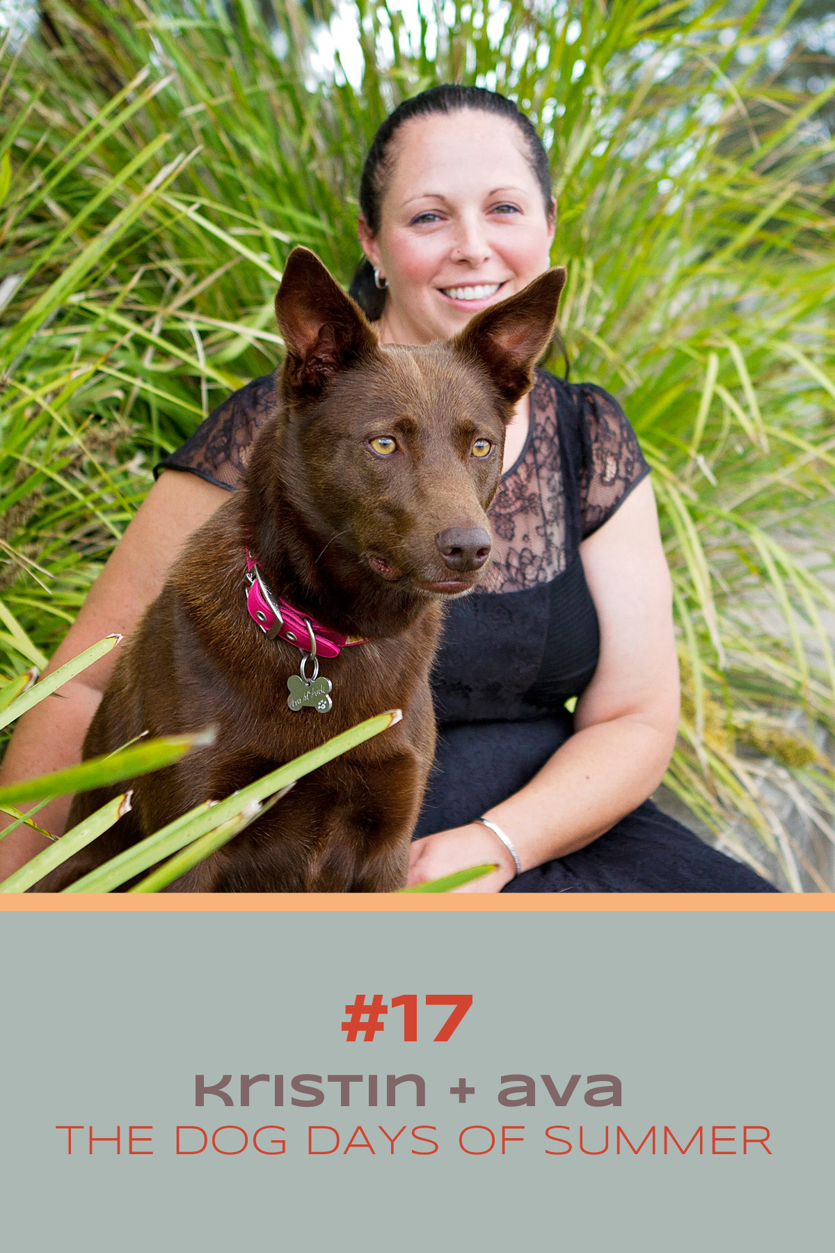 Beautiful Kelpie dog with a chocolate coat sit with her owner watching ducks in the pond during their photo session with Sydney pet photographer, Pawtastic Photography