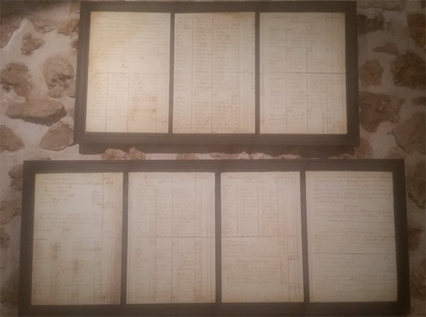 Pieces of parchment paper (~1822) listing the estimated worth of their slaves (St. Nicholas Abbey, Barbados)