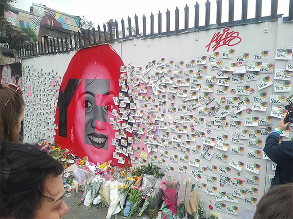 Figure 4 - A mural in memory of Savita Halappanavar and in support of a yes vote in Dublin in the days leading up to the referendum