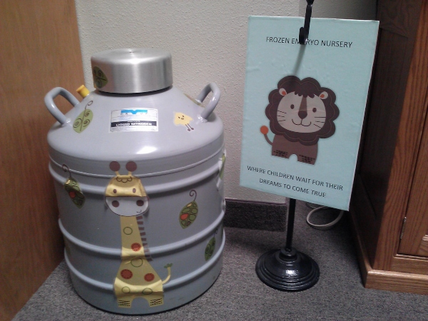 "Faux cryotank used as a promotional tool by US Christian ""embryo adoption"" program (photographed by Risa Cromer)"