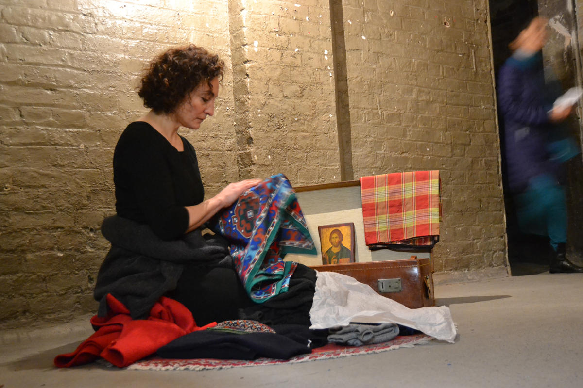 """Performance of """"Packing"""", devised and directed by Karen Babayan. Performed by Shakeh Major Tchilingirian. © Alexei Emam"""
