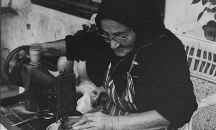 Khatoun Khouri with her sewing machine, 1970
