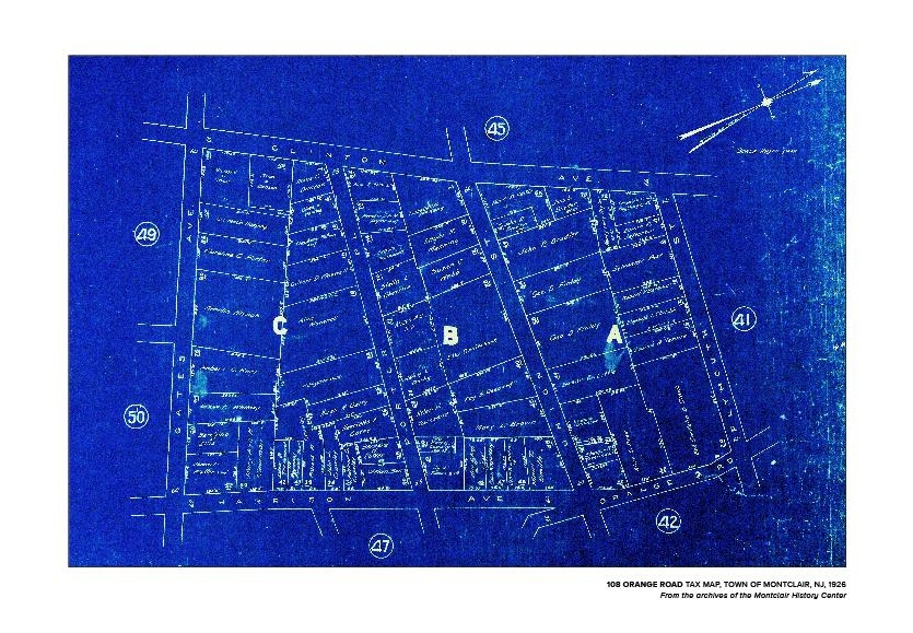 """PERSONALIZED 1906 TAX MAP OF MONTCLAIR, poster size is 18"""" X 24"""" high and printed on high quality paper. The page will reflect the address of your choice and the poster will be personalized with that address - $100"""
