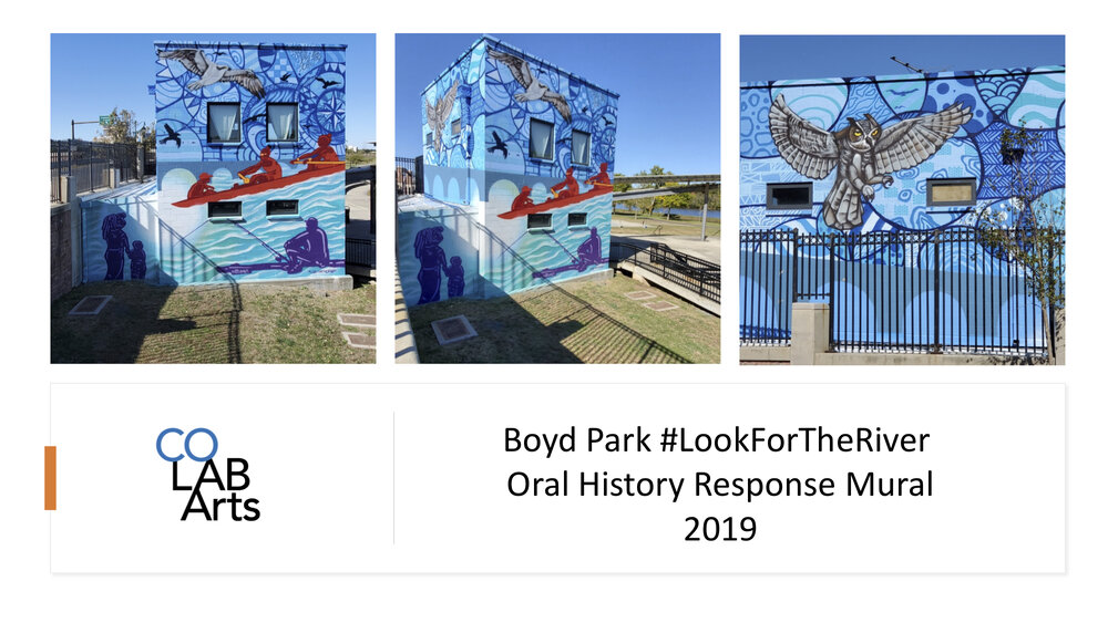 The first major art project form the #LookForTheRiver oral history project was a two story mural on the facilities building in Boyd Park, New Brunswick. The mural was created through the oral histories as well as a community response process co-creating the story of the art with mural artist Leon Rainbow.