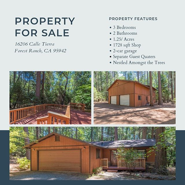 Looking for a home that's nestled amongst the trees in Forest Ranch? Check out 16206 Calle Tierra.  http://www.lambertpearce.com/16206-calle-tierra