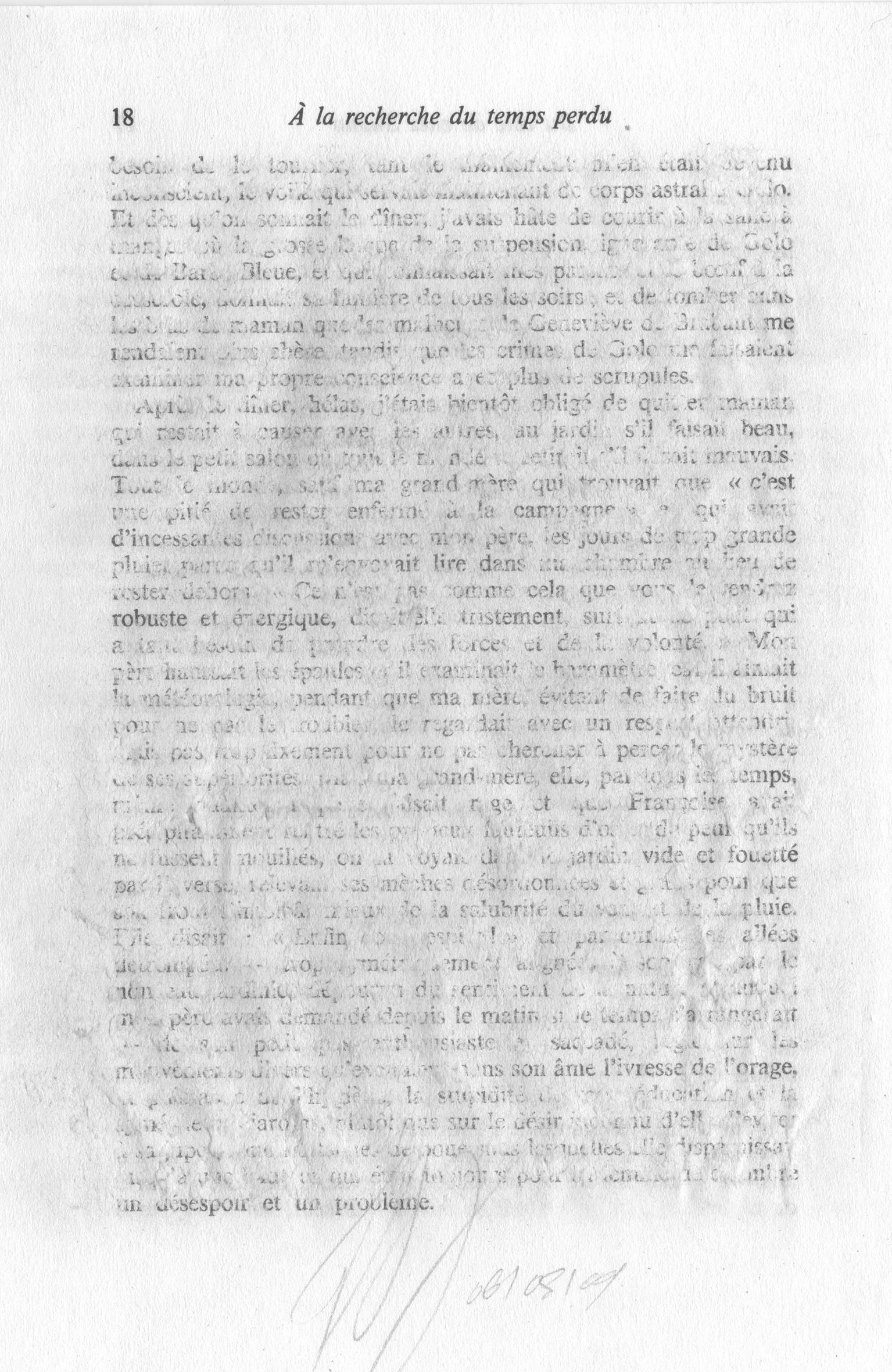 """Jérémie Bennequin, """"Estompage 17-18"""", Feuille du livre """"Du côté de chez Swann"""", estompées à la gomme à encre, 13,8 x 20,2 cm, 06.05.09"""