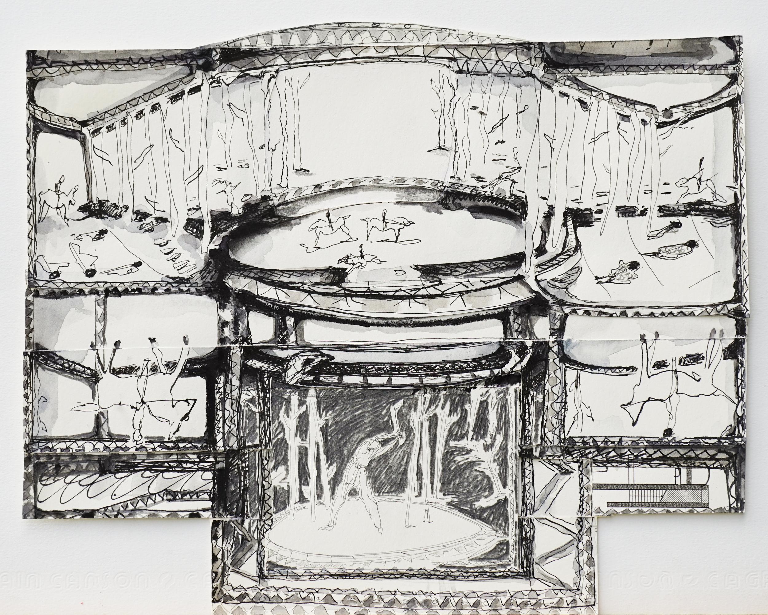"""Valérie Favre,  """"nach F. Hodler"""", de la série """"Les Petits Théâtres de la Vie"""", encre de Chine, graphite et aquarelle sur papier, 29.5 x 24,5 cm, 2014"""