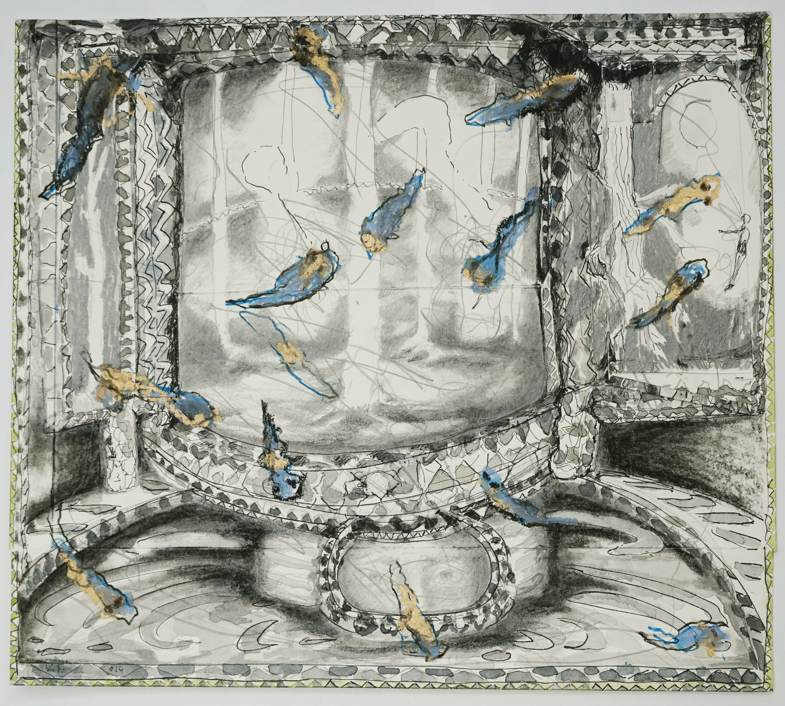 """Valérie Favre, """"Têtards"""", de la série """"Les Petits Théâtres de la Vie"""", encre de Chine, aquarelle, graphite, pastel gras et sec sur papier, 29.7 x 26.5 cm, 2014"""