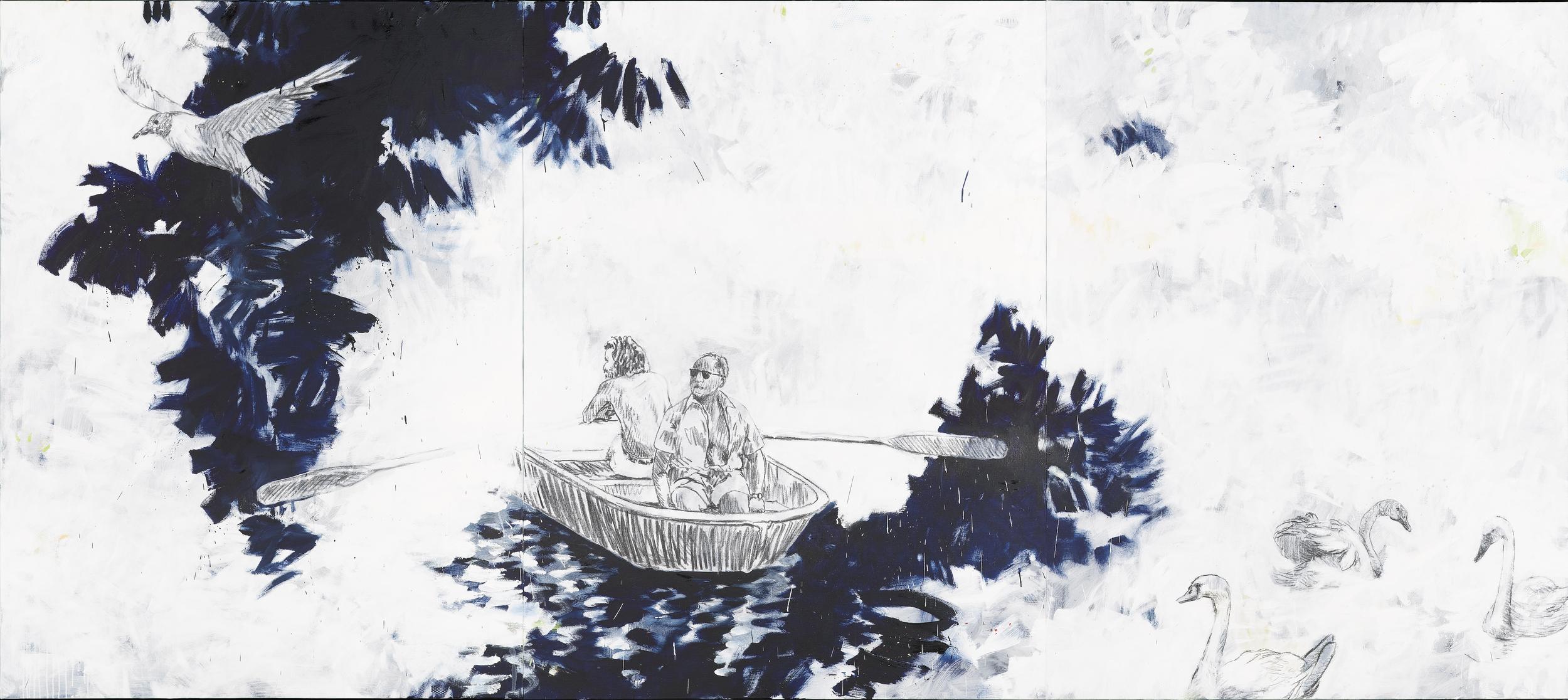 """Niklaus Manuel Güdel, """"Sans titre"""", huile et fusain sur toile, 360 x 160 cm, 2016 © Courtesy Galerie C, Neuchâtel / Photo : Pierre Montavon"""
