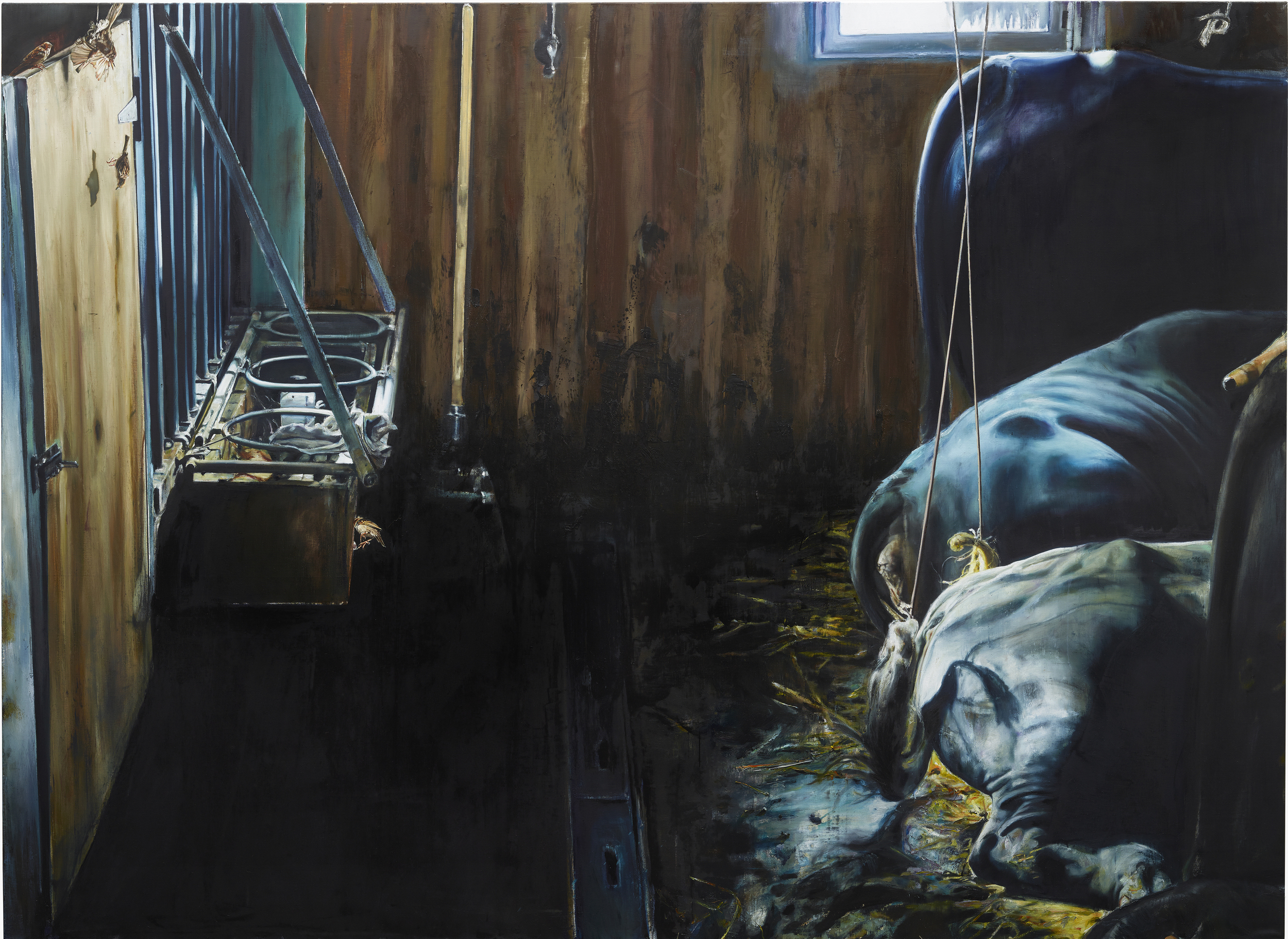 """Léopold Rabus, """"Vaches en début d'après-midi"""", huile sur toile, 300 x 220 cm, 2016"""