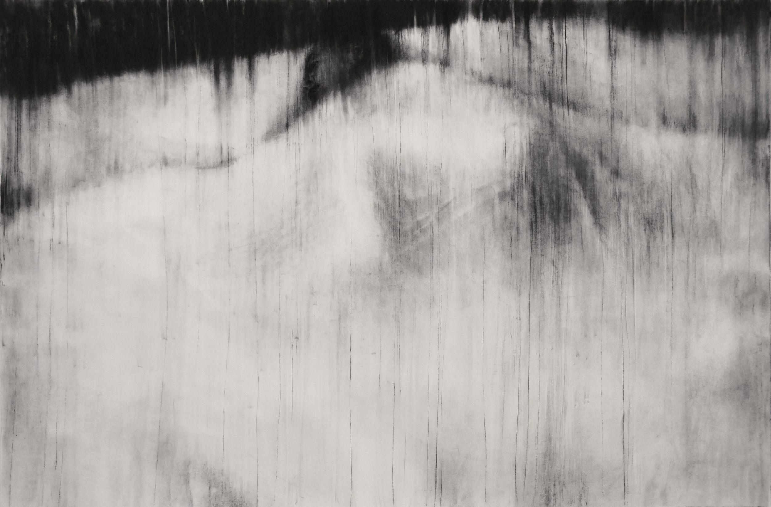"""Guy Oberson, """"Dérobée blanche"""", pierre noire sur papier. 180 x 120 cm, 2014"""