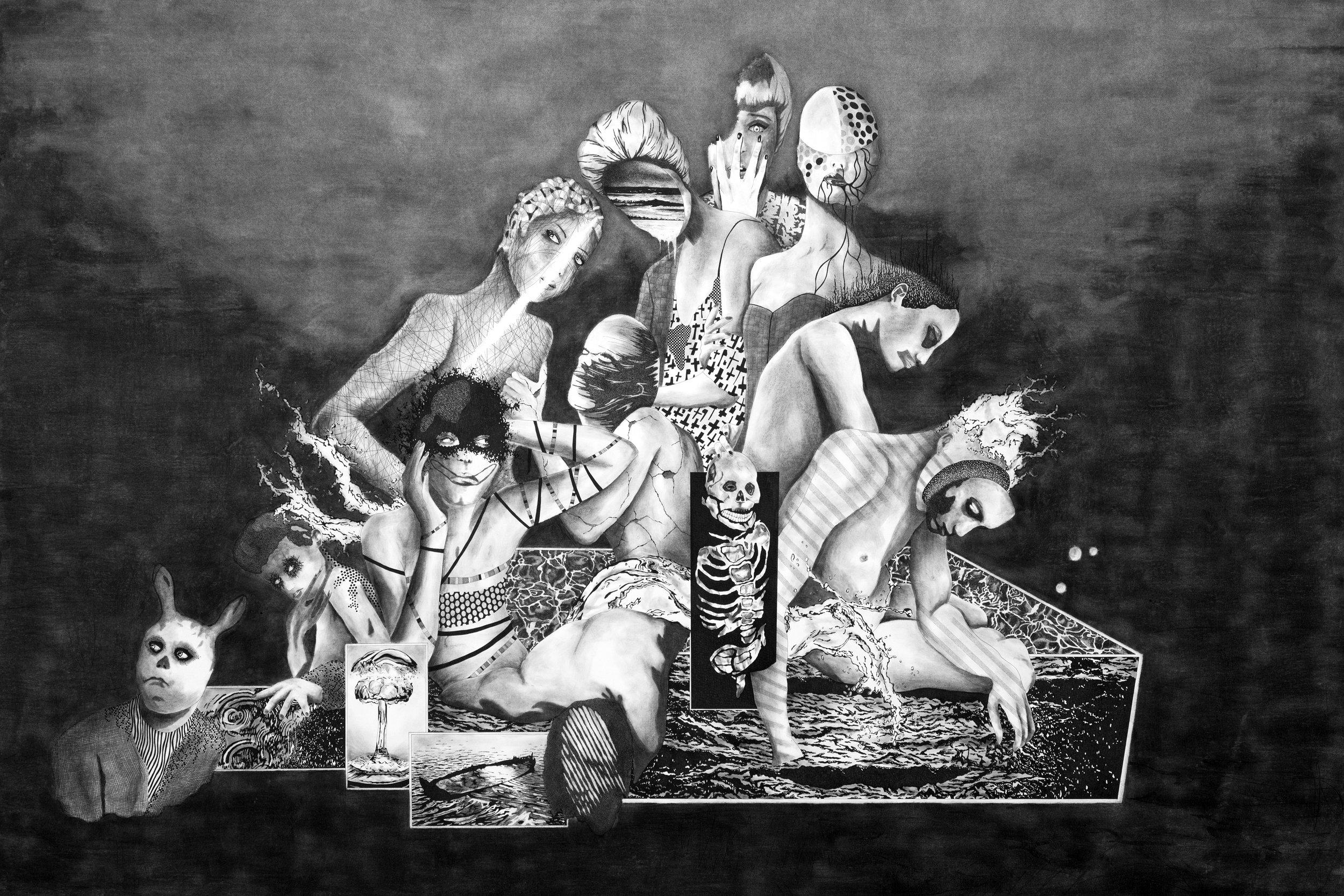 """Nicolai Huch, """"Das Feuchte sitzt drunter"""", 220 x 150 cm, 2015"""