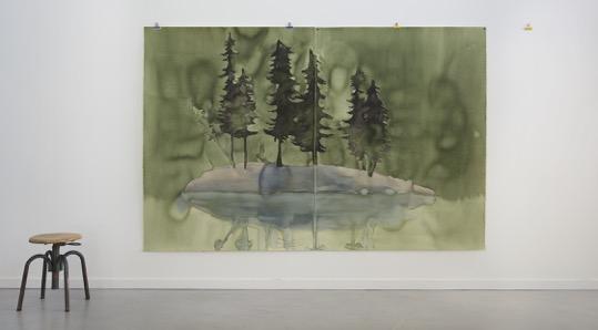 """Françoise Pétrovitch, """"Îles"""", 240 x 160 cm, 2014 (Vue d'atelier)"""