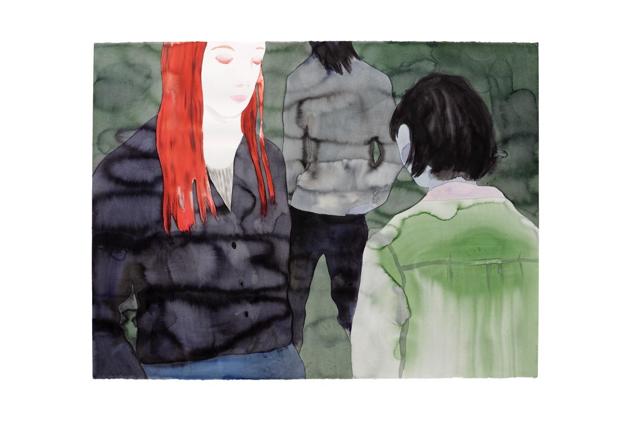 Françoise Pétrovitch, lavis d'encre, 160 x 120 cm, 2014