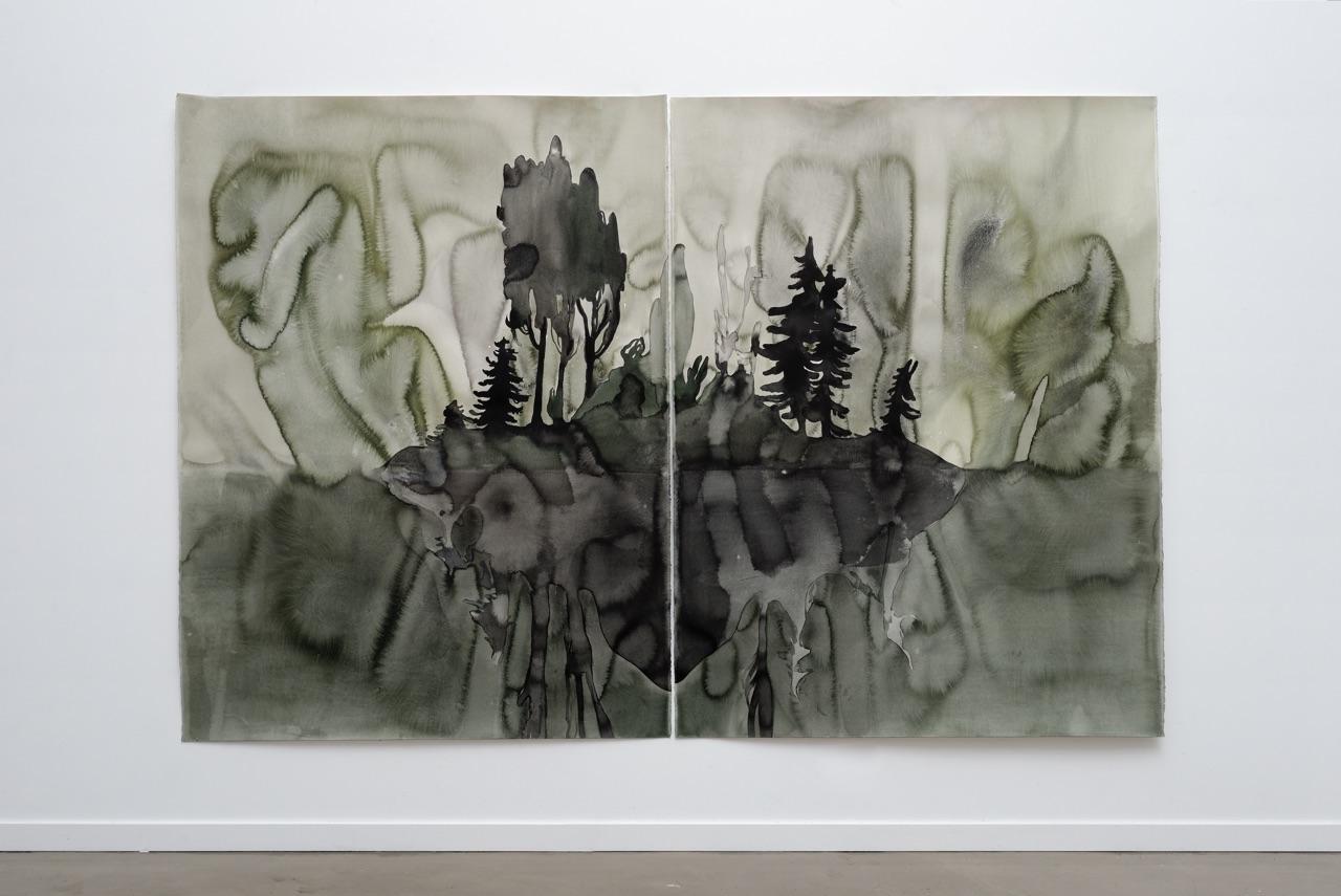 """Françoise Pétrovitch, """"Îles"""", 240 x 160 cm, 2016 (Vue d'atelier)"""