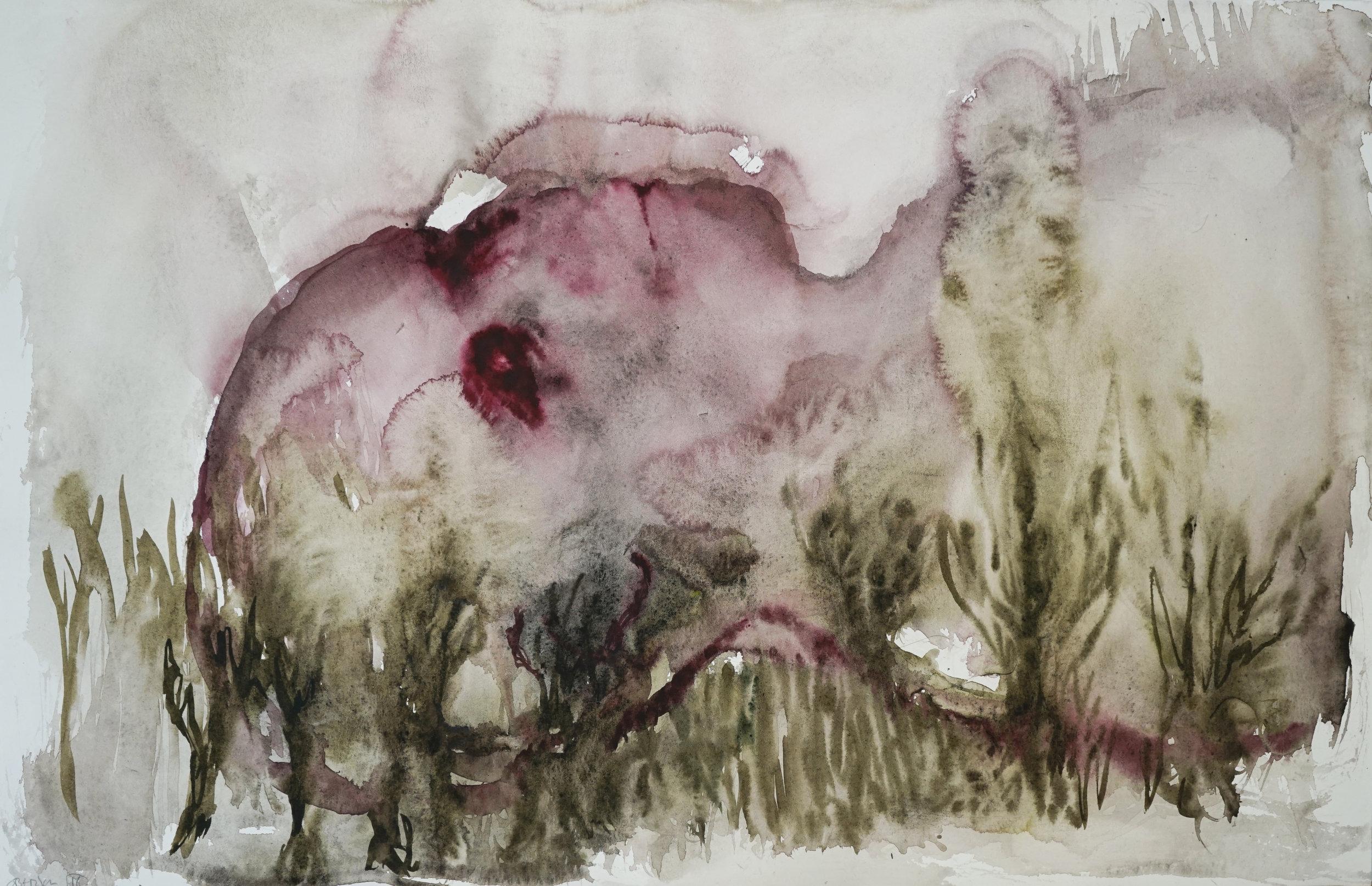 """Guy Oberson, """"Dashed Hopes 1"""", aquarelle sur papier bambou, 36 x 56 cm, 2016"""