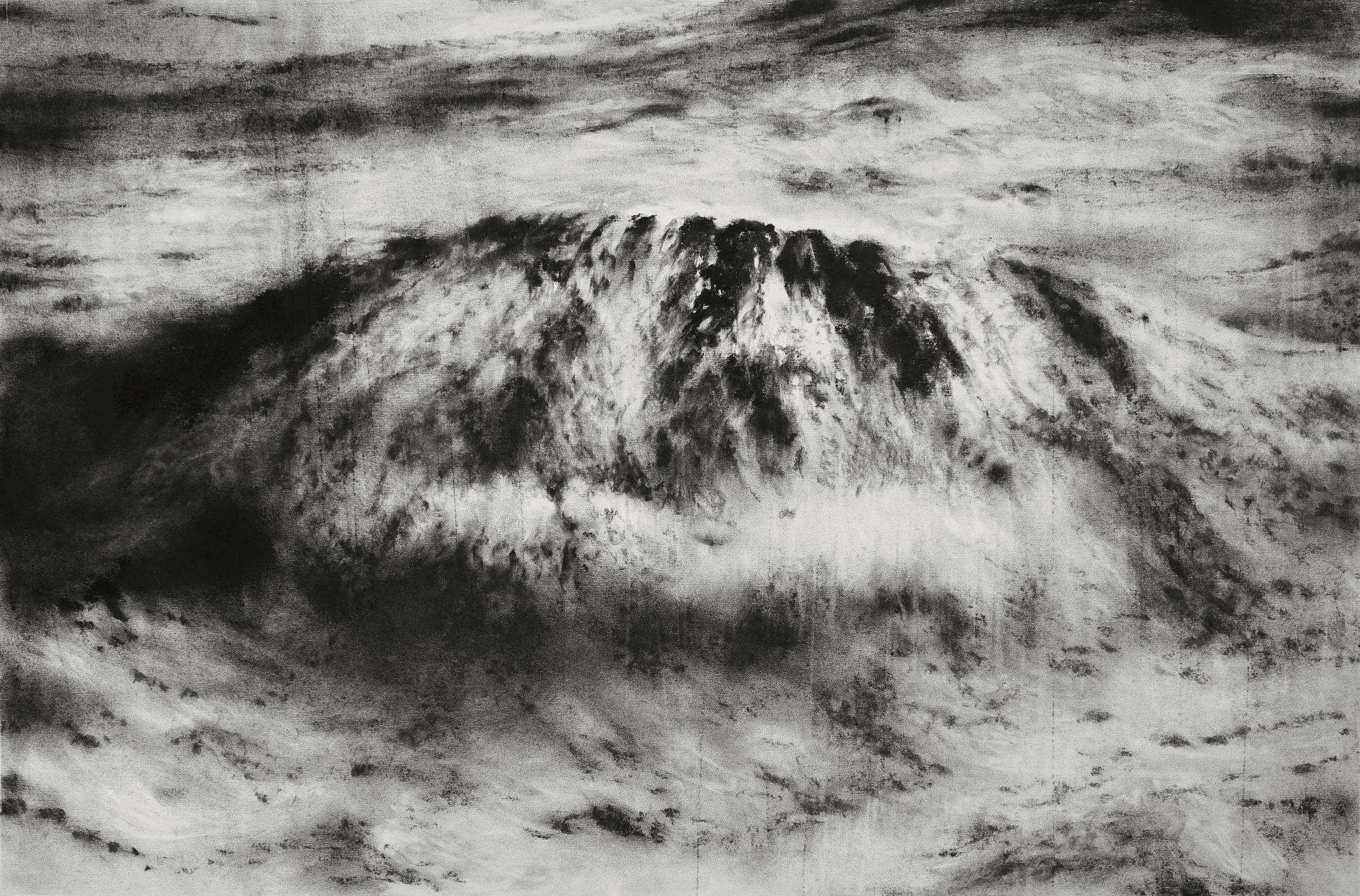 """Guy Oberson, """"Dashed Hopes II"""", pierre noire sur papier, 60 x 90 cm, 2016"""