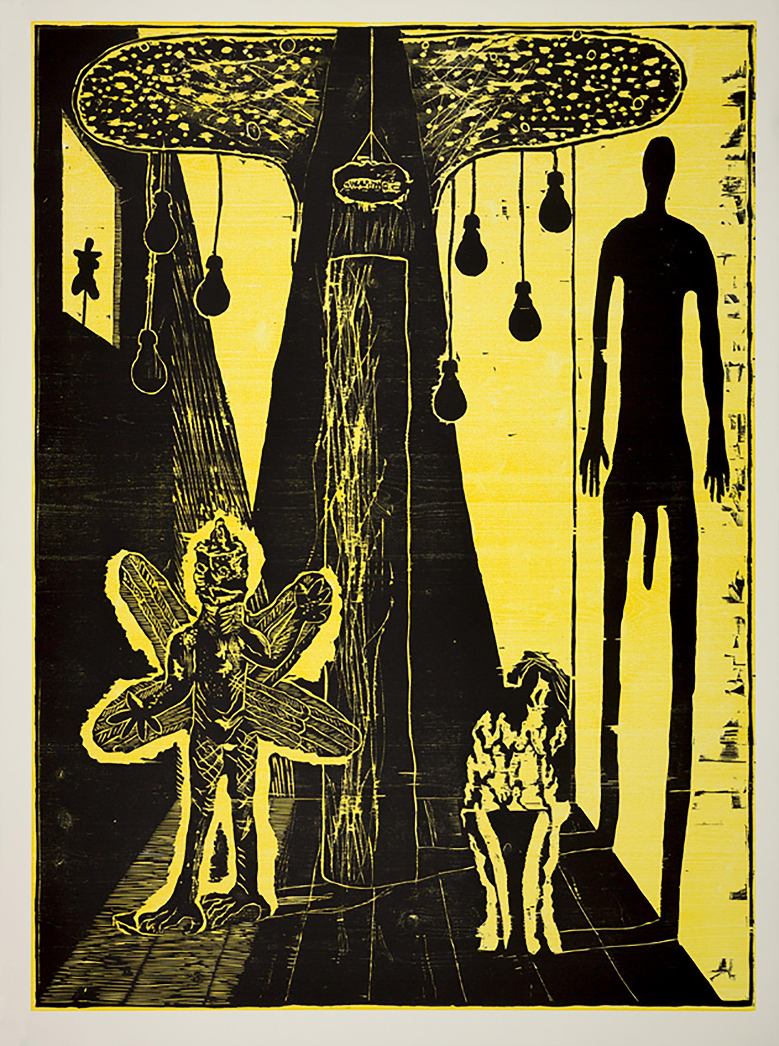 """Damien Deroubaix, """"The Painter 3"""", xylogravure,160 x 120 cm, edition sur demande"""