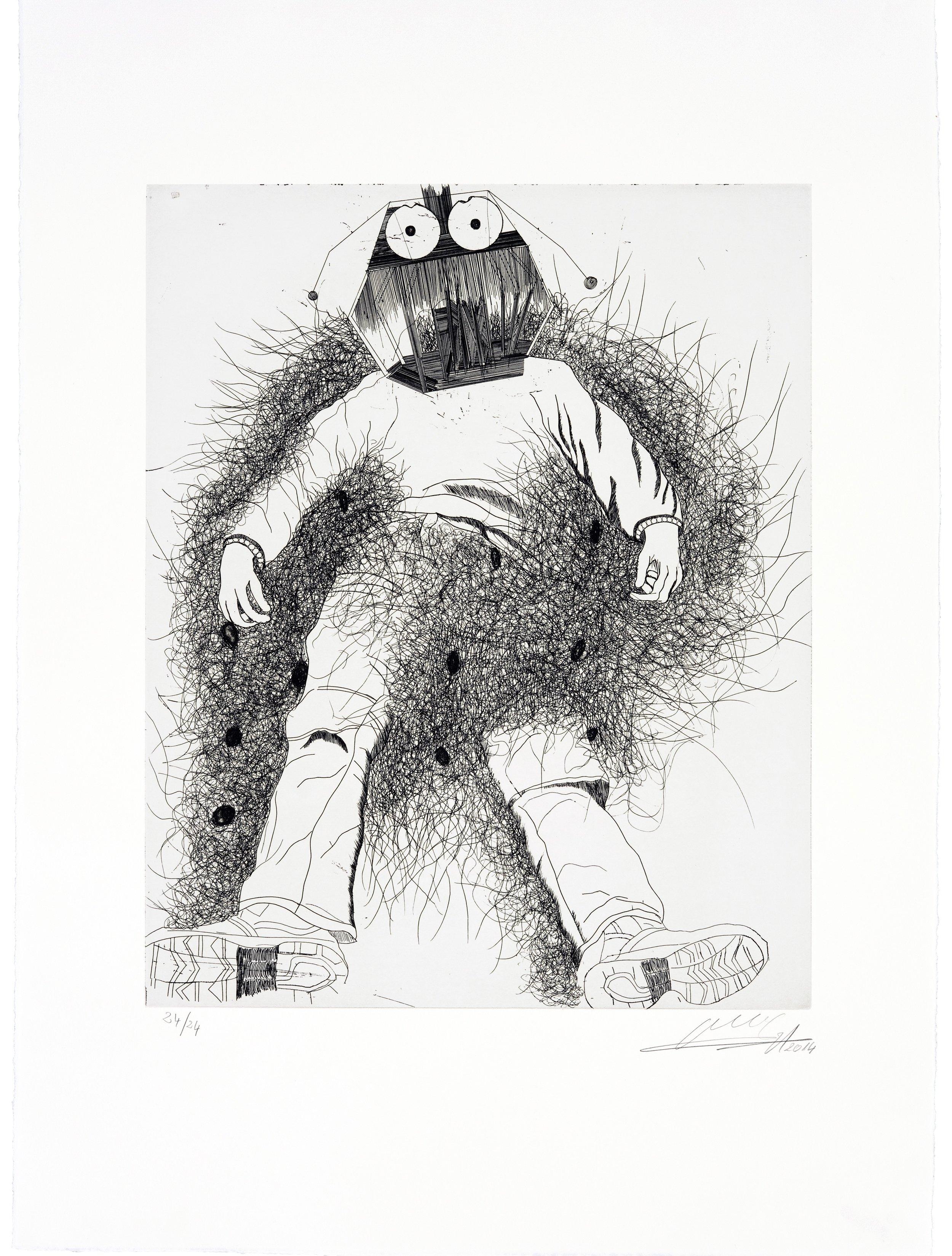 """Omar Ba, """"Sans titre"""", gravure à l'eau-forte, 75 x 54,8 cm, 2014, édition sur demande"""