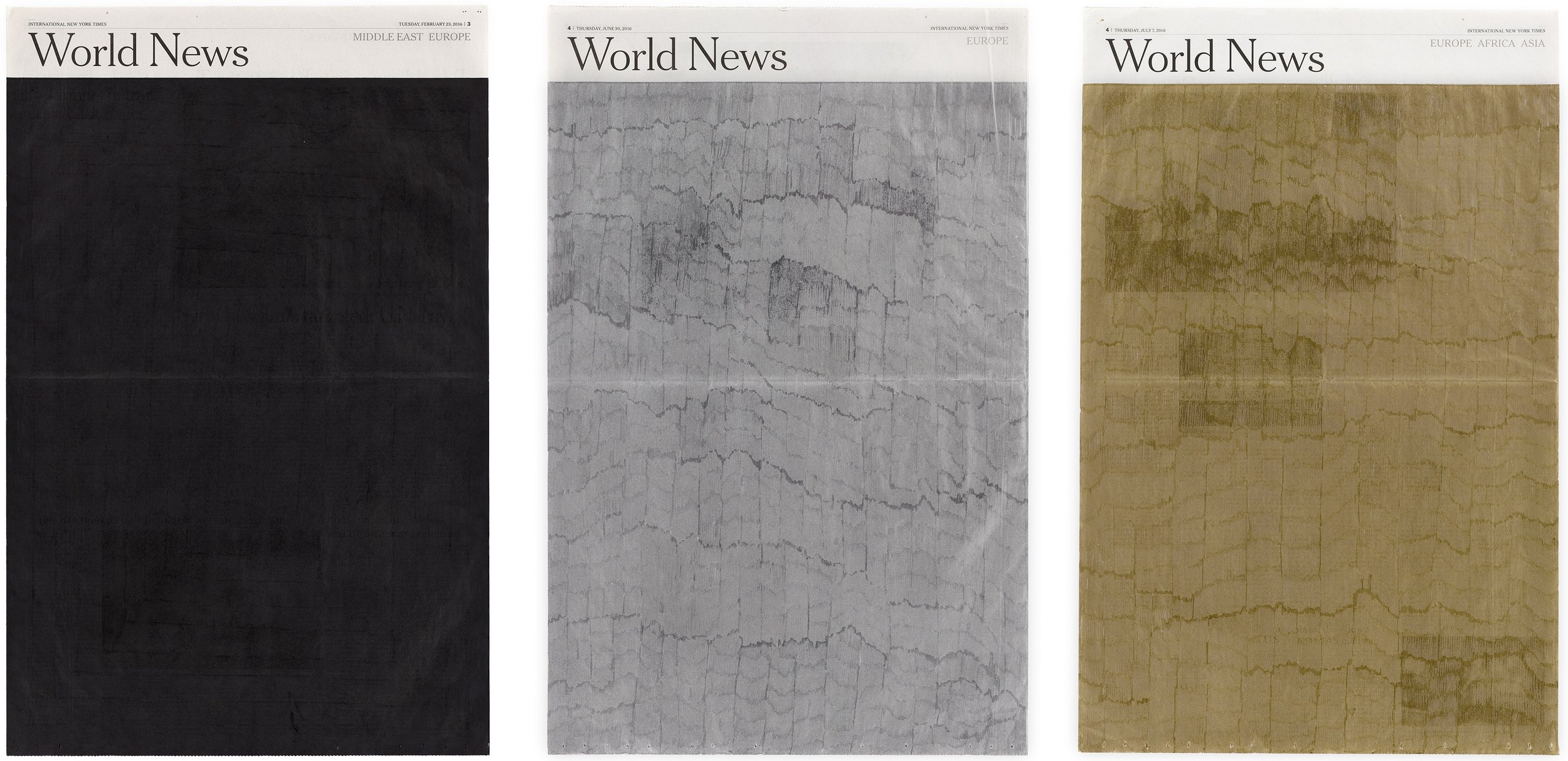 """Jean-Christophe Norman, """"World News"""", encre et graphite sur papier, 2016"""