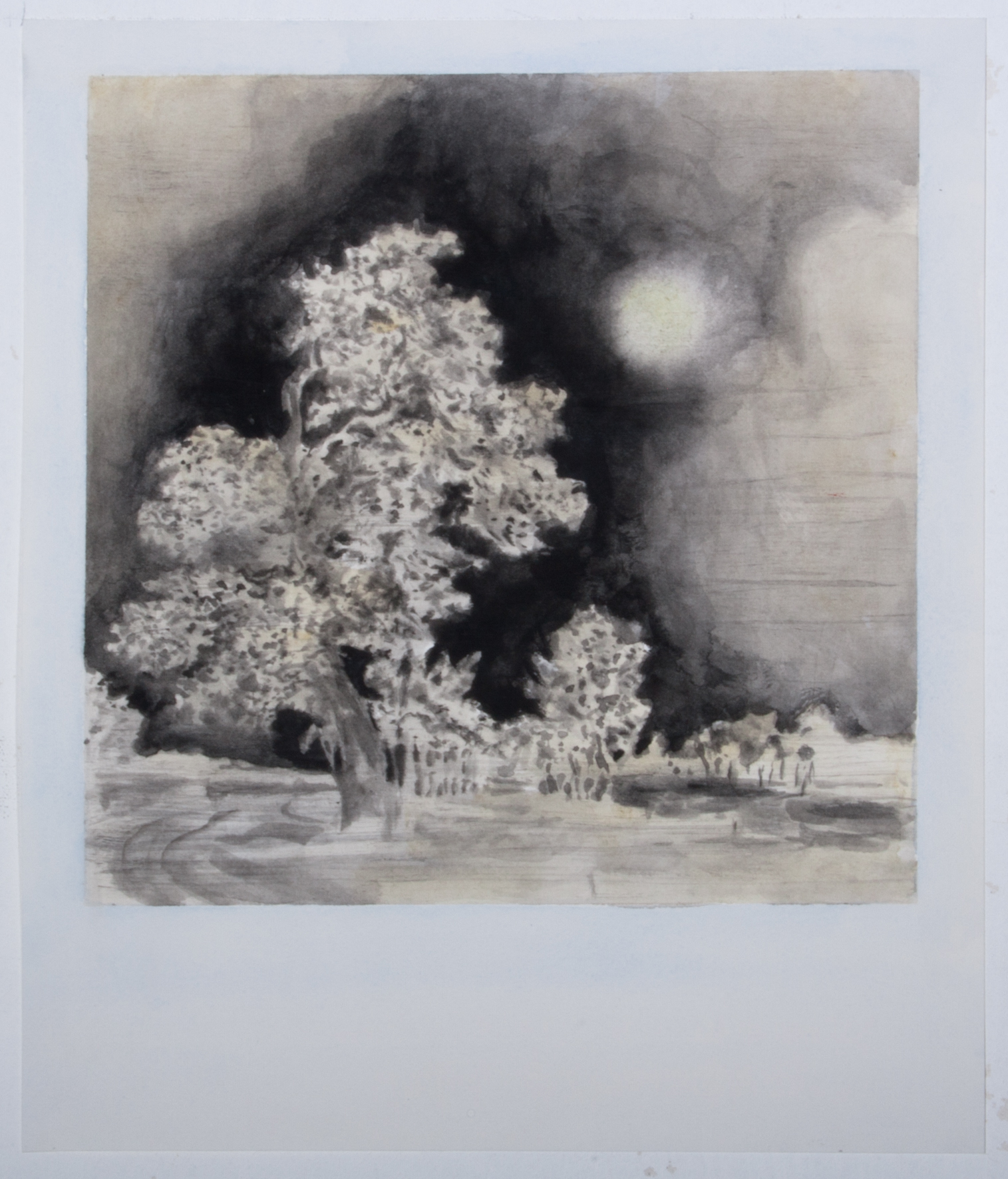"Uwe Wittwer, ""Landscape Negative after Ruysdael, Polaroid"" aquarelle, 26 x 30 cm, 2017"