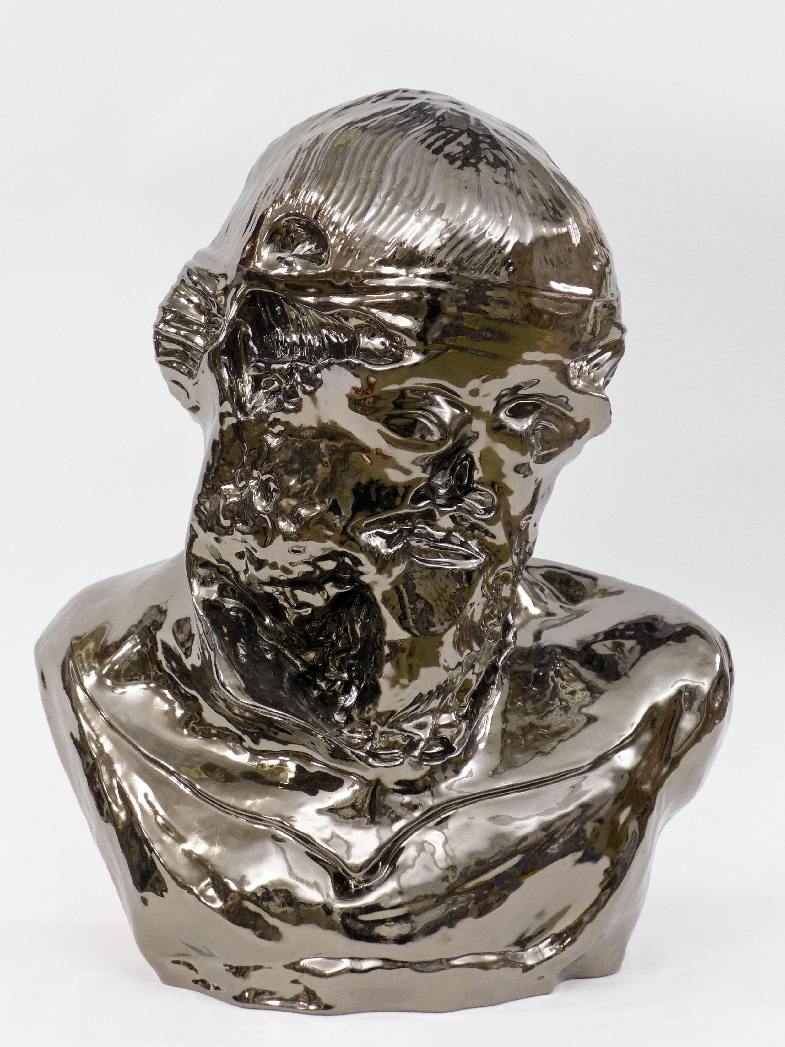 """Christian Gonzenbach, """"Notalp Suhcab"""" (Platon), de la série """"Hcabneznog"""", céramique émaillée au bronze, 54 x 46 x 27 cm"""