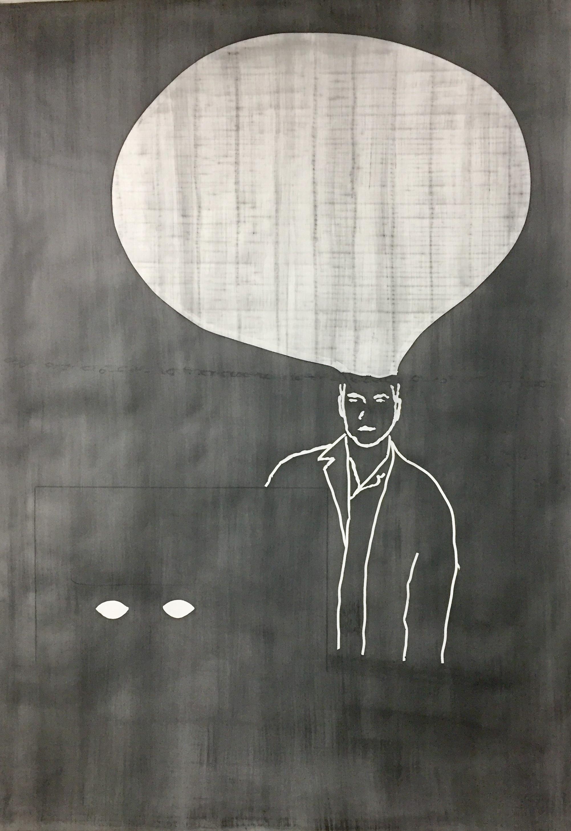 """© Alain Huck, """"Culpa"""", graphite sur papier, 151x215 cm, 2017."""
