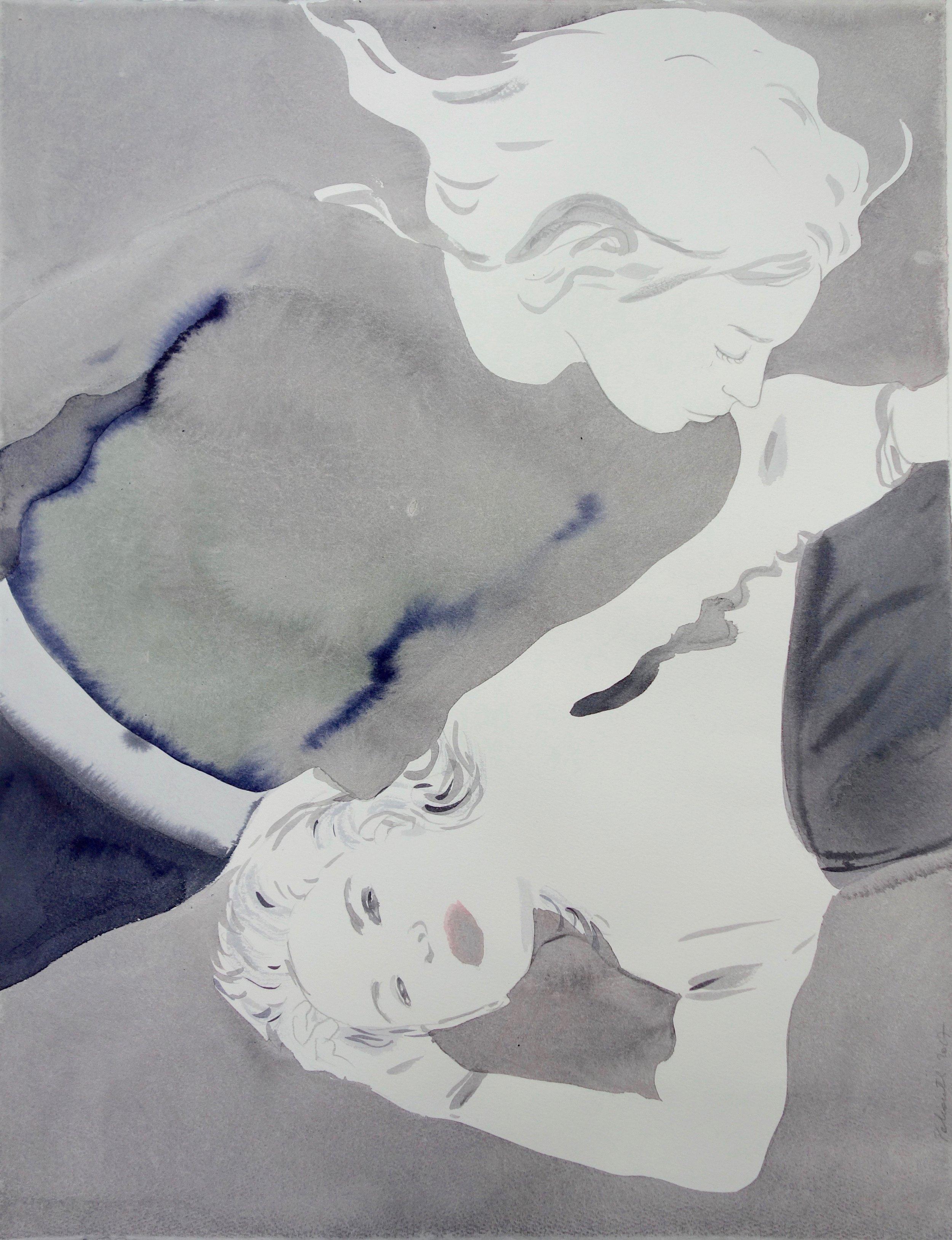 """© Françoise Pétrovitch, """"Sans titre"""", lavis d'encre sur papier, 50x65 cm , 2017."""