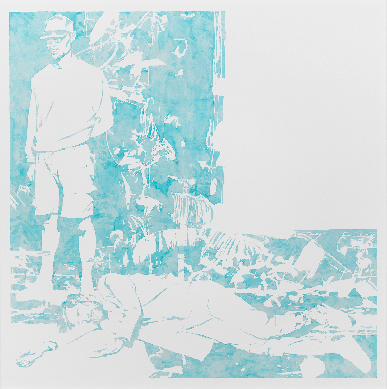 """Michael Rampa, """"Cap"""", aquarelle sur papier, 137,2 x 136,2 cm, 2017."""