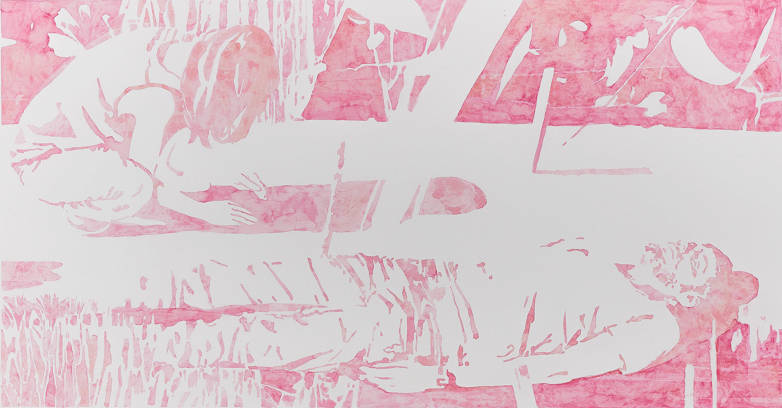 """Michael Rampa, """"Dust"""", aquarelle sur papier, 94,2 x 173,2 cm, 2017."""