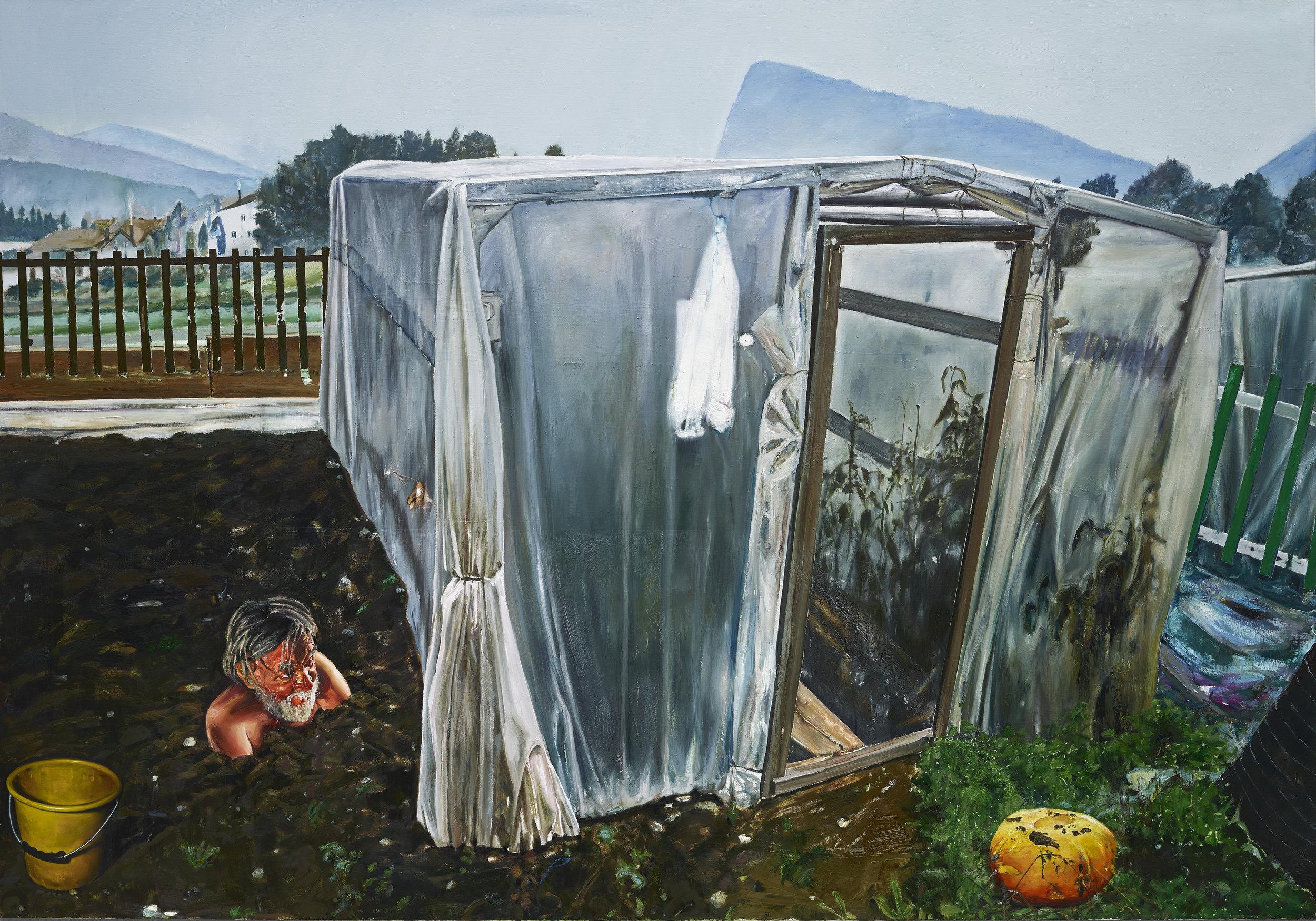 """Léopold Rabus, """"Portrait de François"""", huile sur toile, 300x220 cm, 2017."""