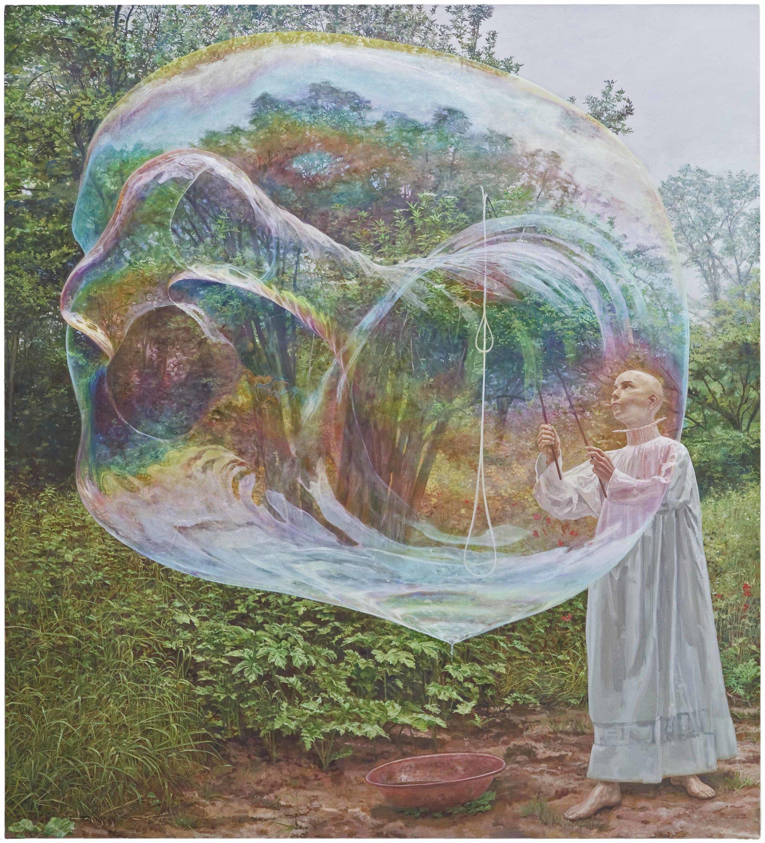 """Simon Pasieka, """"miracle"""", huile sur toile, 220x200 cm, 2017"""