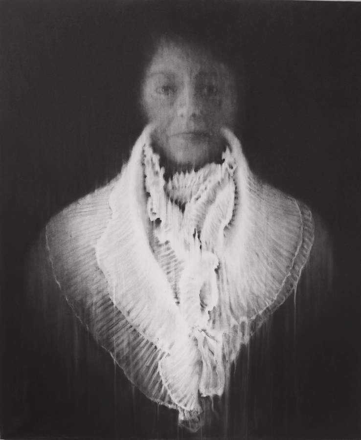 """© Guy Oberson, """"Norah"""", pierre noire sur papier, 165x138 cm, 2018. Courtesy Galerie C"""