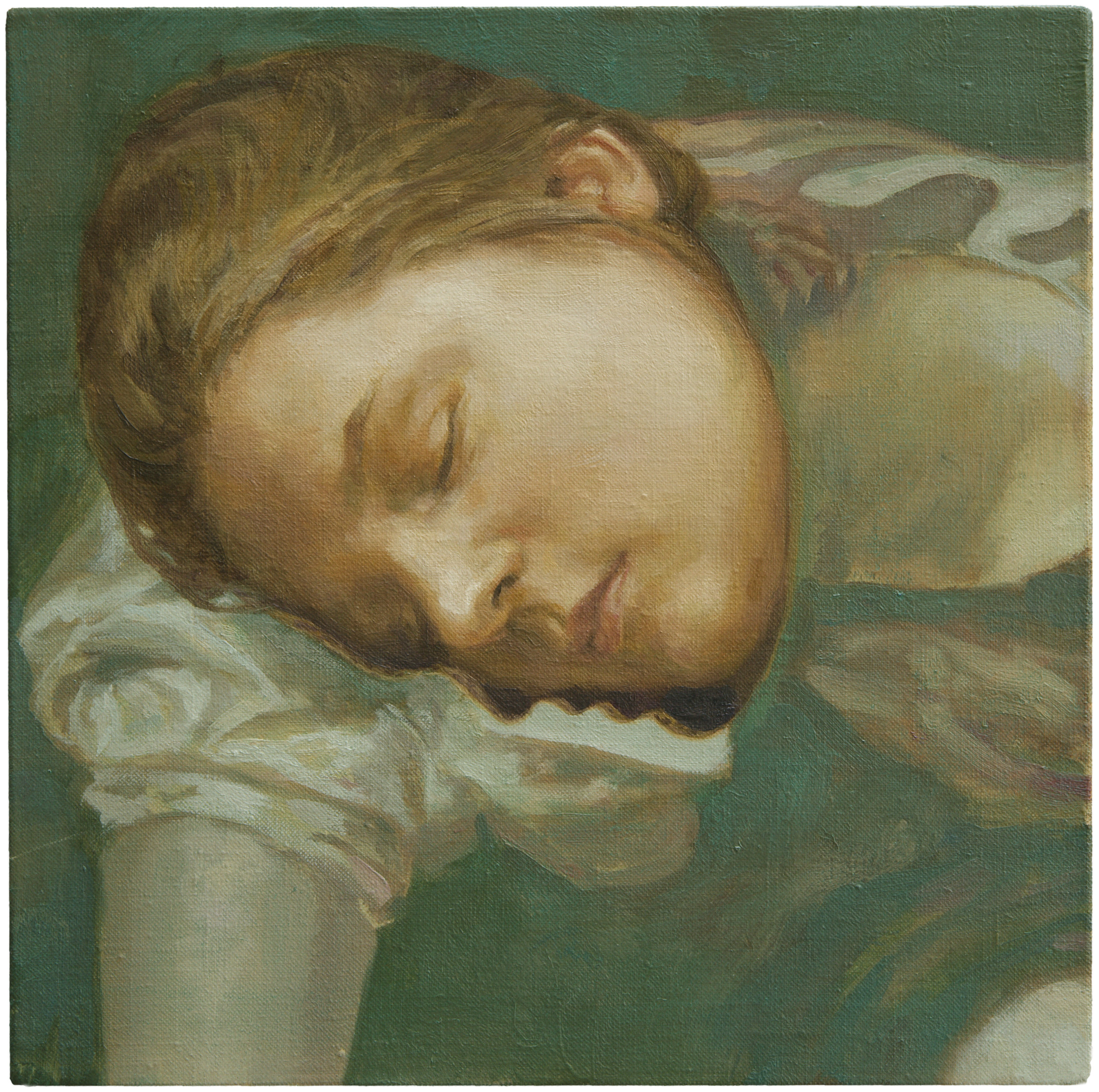 """Simon Pasieka, """"narcisse"""", huile sur toile, 25x25 cm,2017"""
